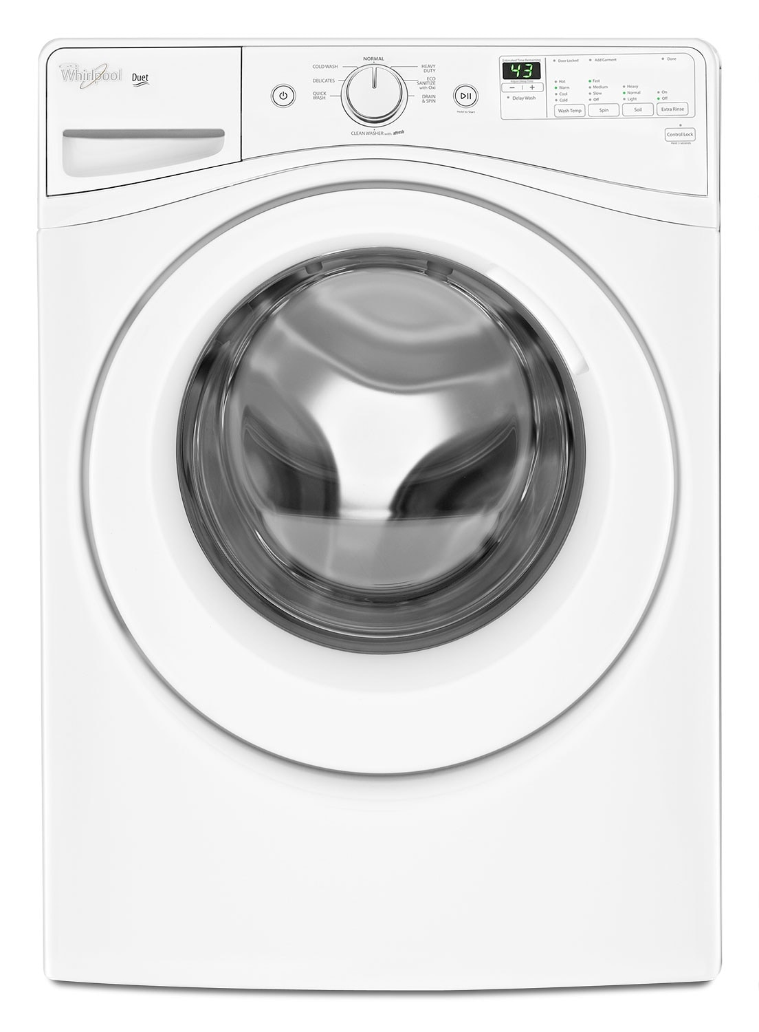 Washers and Dryers - Whirlpool® Duet® 4.8 Cu. Ft. High-Efficiency Front-Load Washer - White