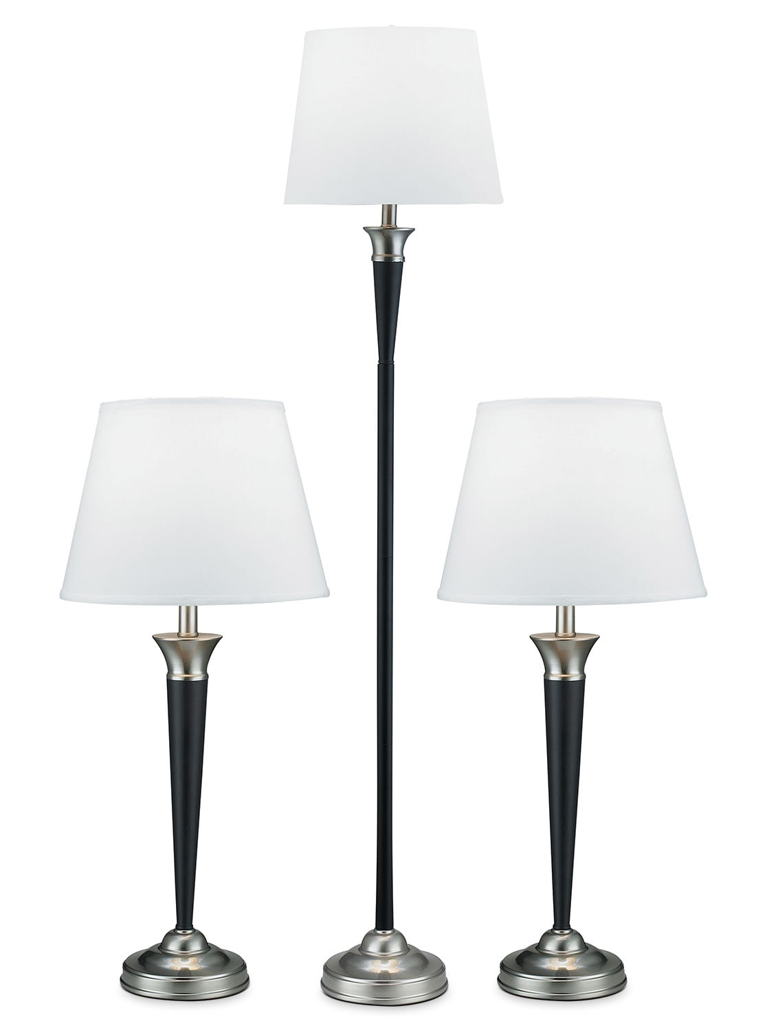 Brushed Steel and Espresso 3-Piece Floor and Two Table Lamps Set