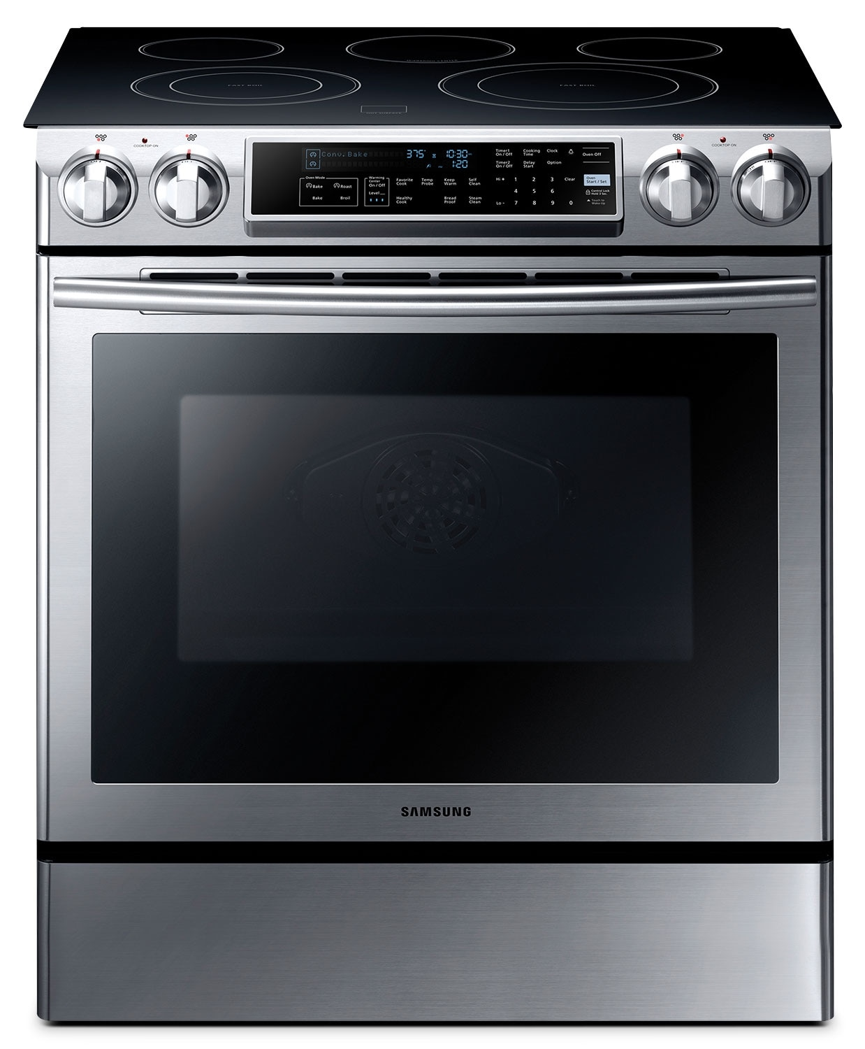 Cooking Products - Samsung 5.8 Cu. Ft. Slide-In Electric Range - Stainless Steel