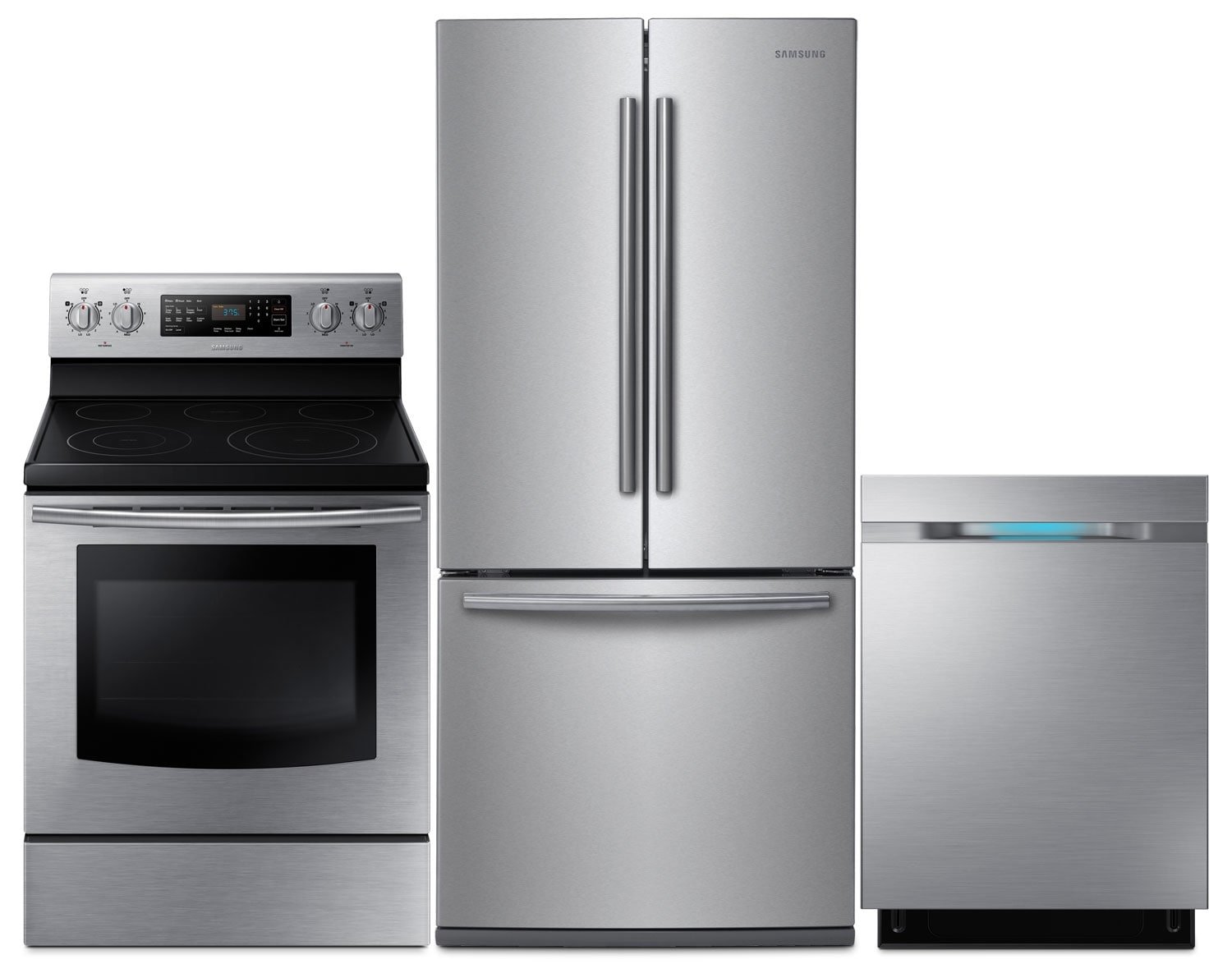 Clean-Up - Samsung 22 Cu. Ft. Refrigerator, 5.9 Cu. Ft. Electric Range and Built-In Dishwasher