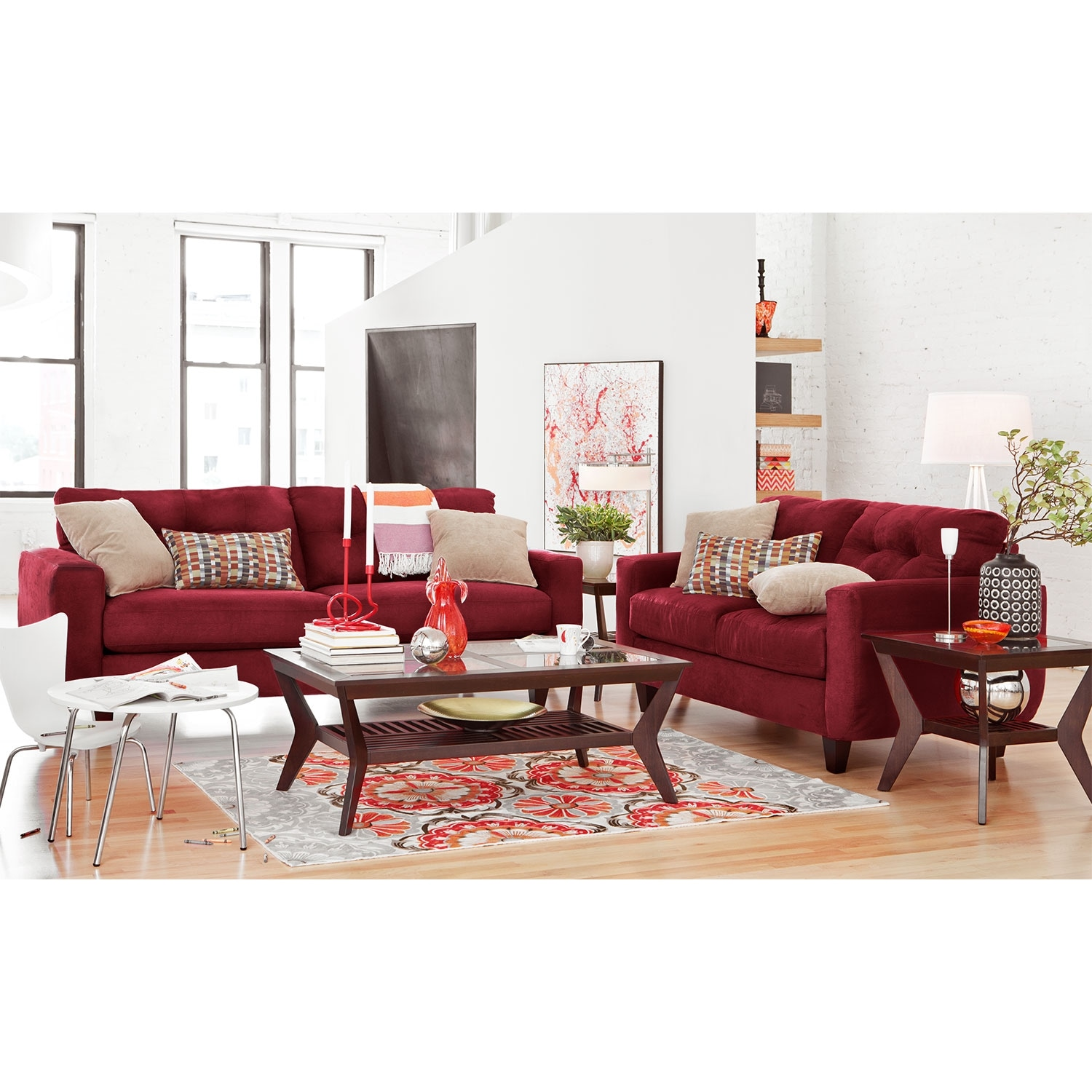 West Village Sofa And Loveseat Set Red American