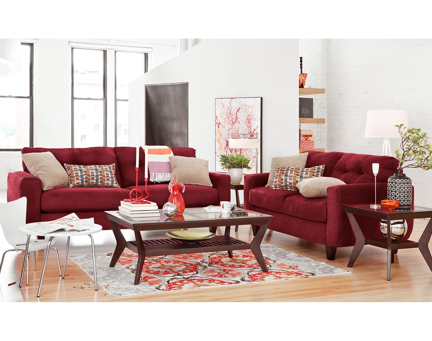 Living Room Furniture - The Walker Red Collection - Sofa