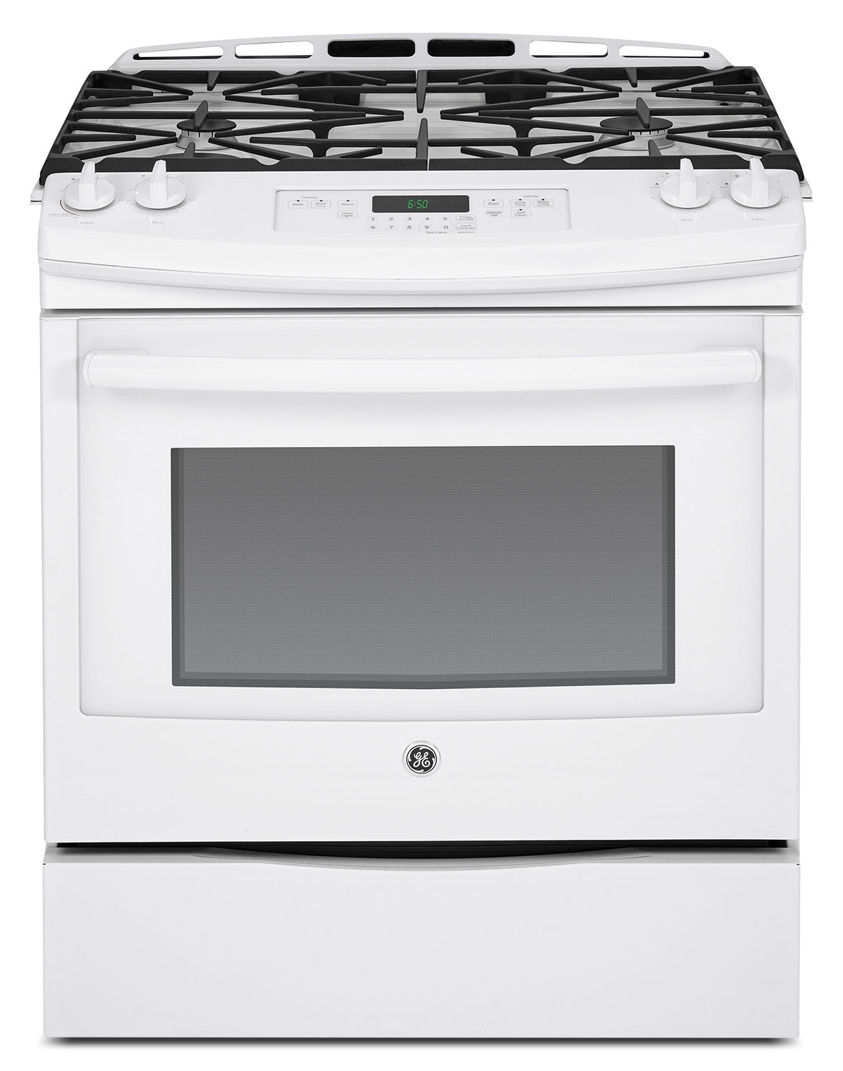 Cooking Products - GE White Slide-In Gas Range (5.4 Cu. Ft.) - JCGS650DEFWW