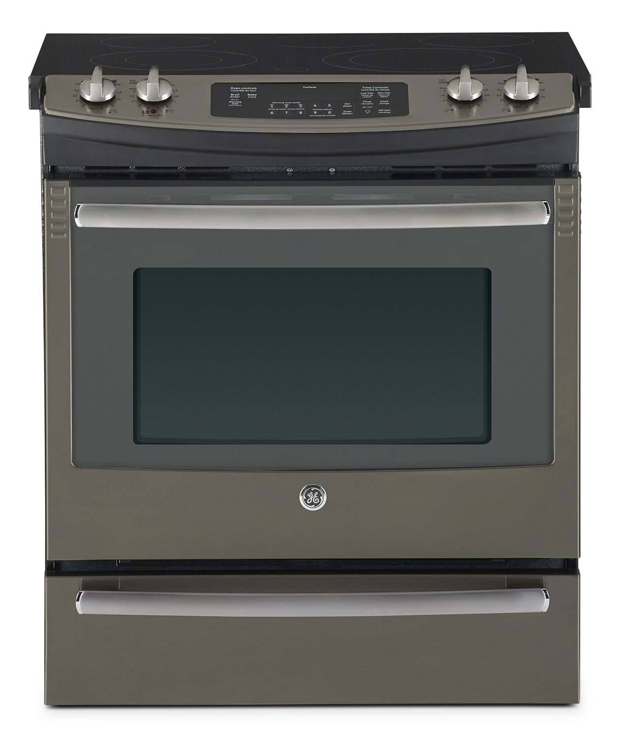 ge slate slide in electric range 5 2 cu ft jcs860efes leon 39 s