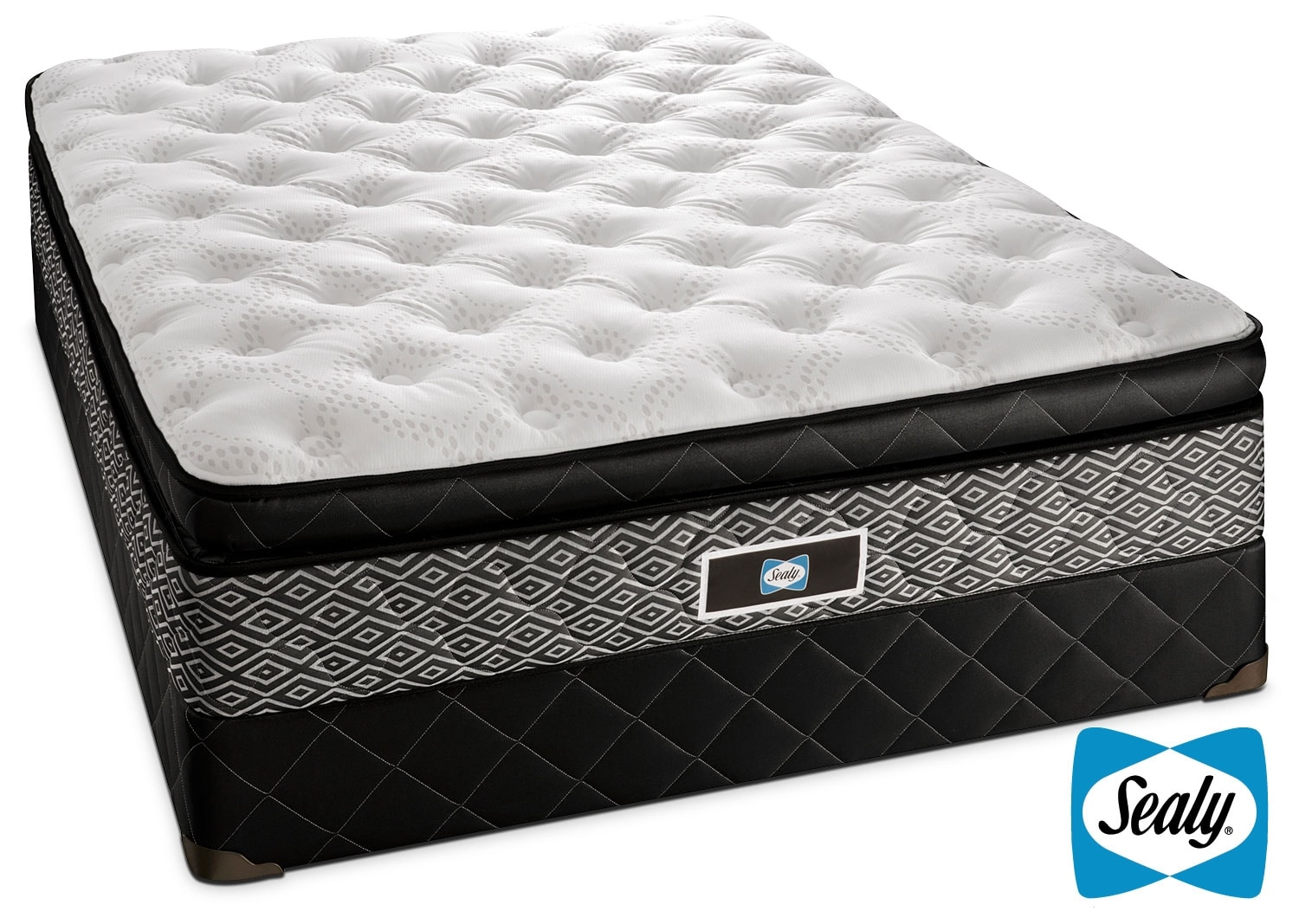 sealy echo plush queen mattress boxspring set leon 39 s