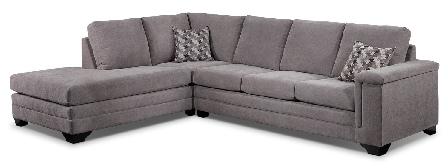 Living Room Furniture - Leighton 2-Piece Left-Facing Sectional - Grey