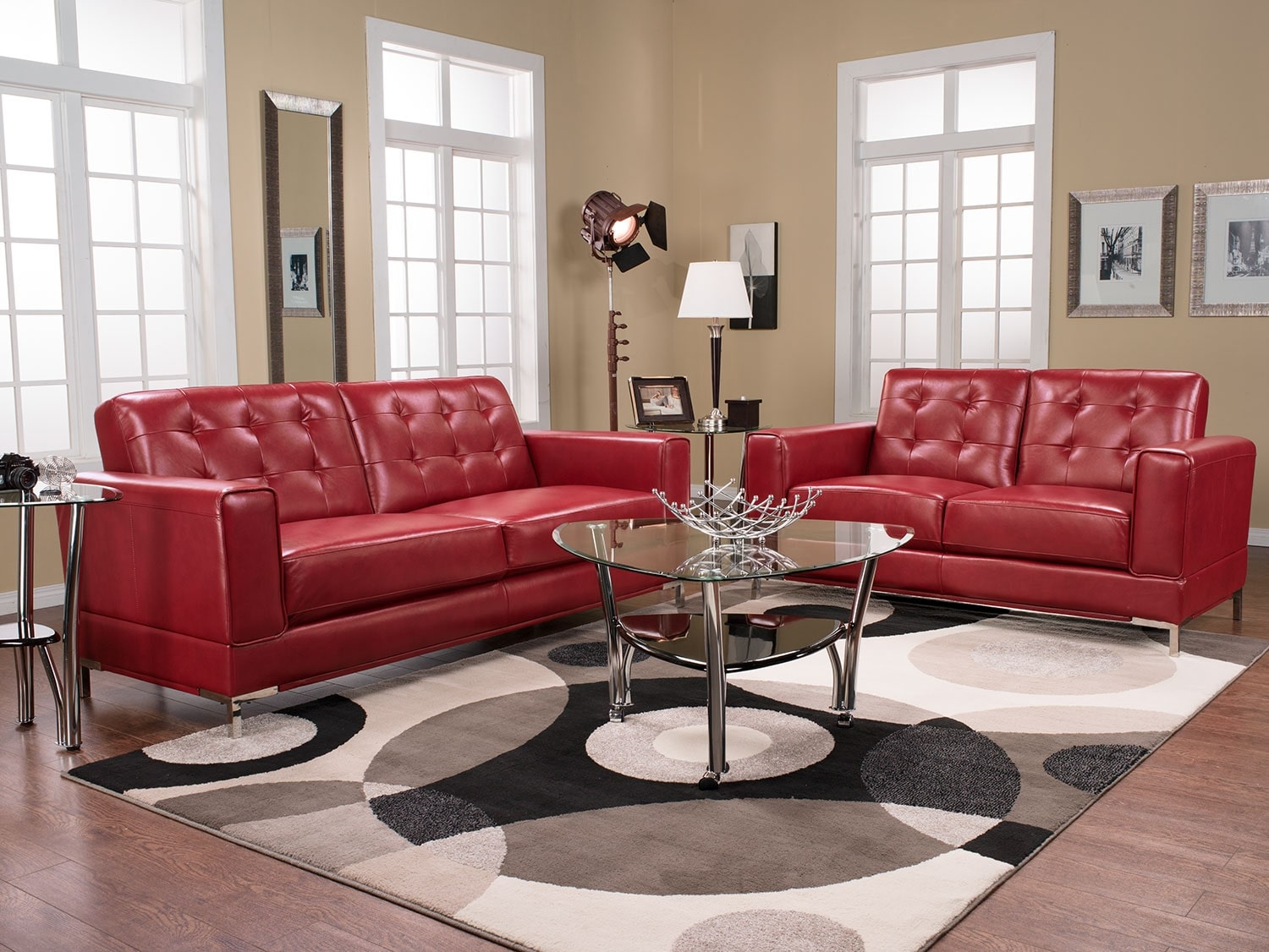 myer leather look fabric sofa red the brick. Black Bedroom Furniture Sets. Home Design Ideas
