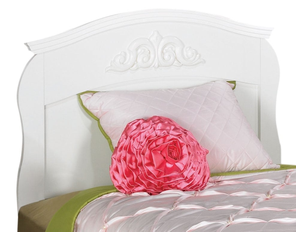 Diamond Dreams Twin Sleigh Headboard – White