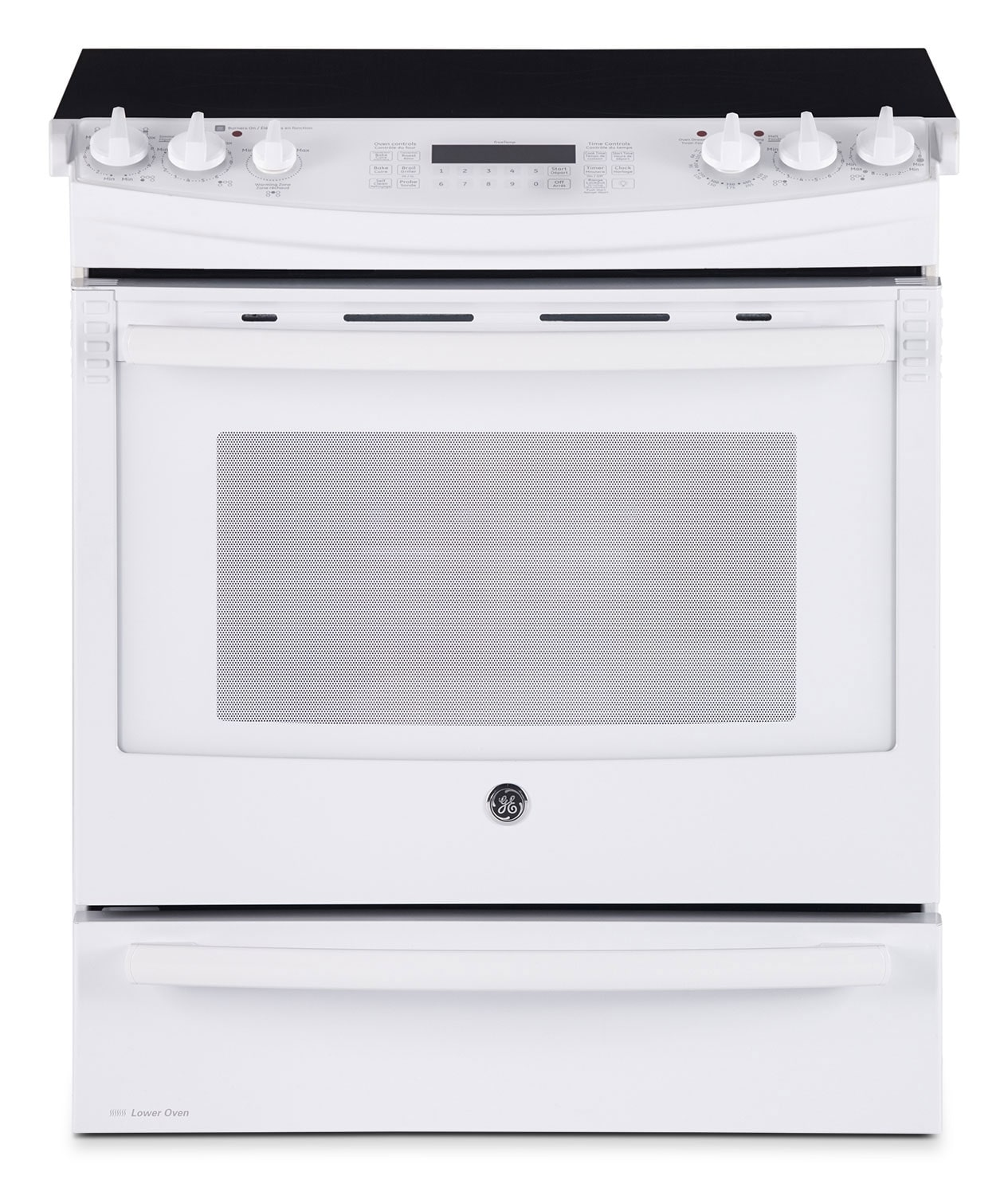 GE White Slide In Electric Convection Range 66 Cu Ft