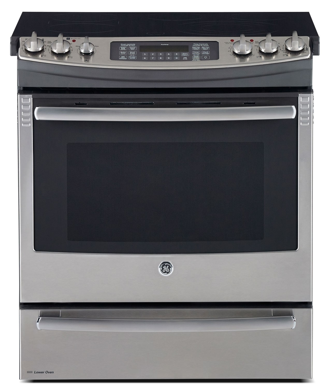 GE Stainless Steel Slide-In Electric Convection Range (6.6 Cu. Ft.) - PCS940SFSS