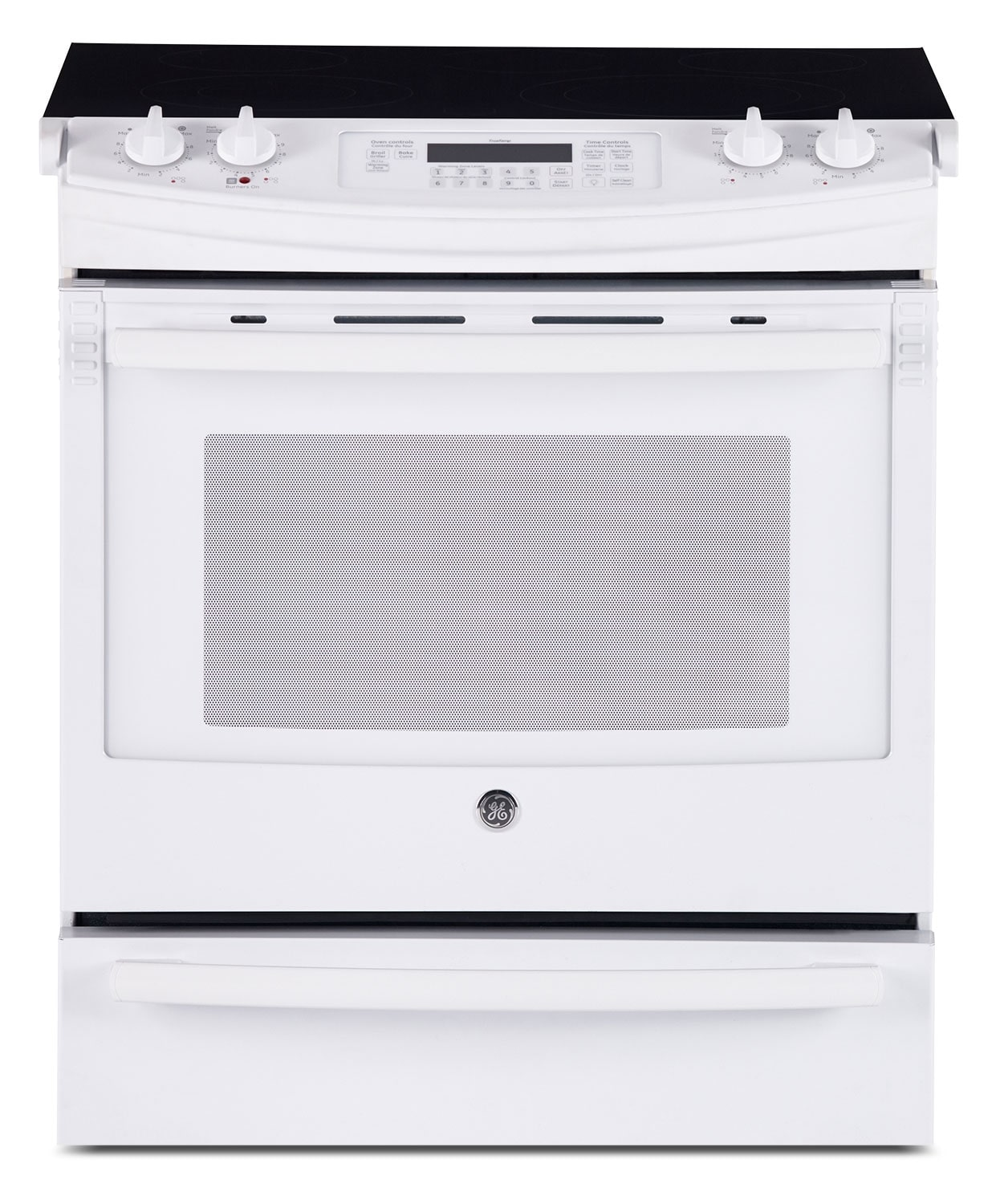 Cooking Products - GE White Slide-In Electric Convection Range (5.2 Cu. Ft.) - JCS860DFWW