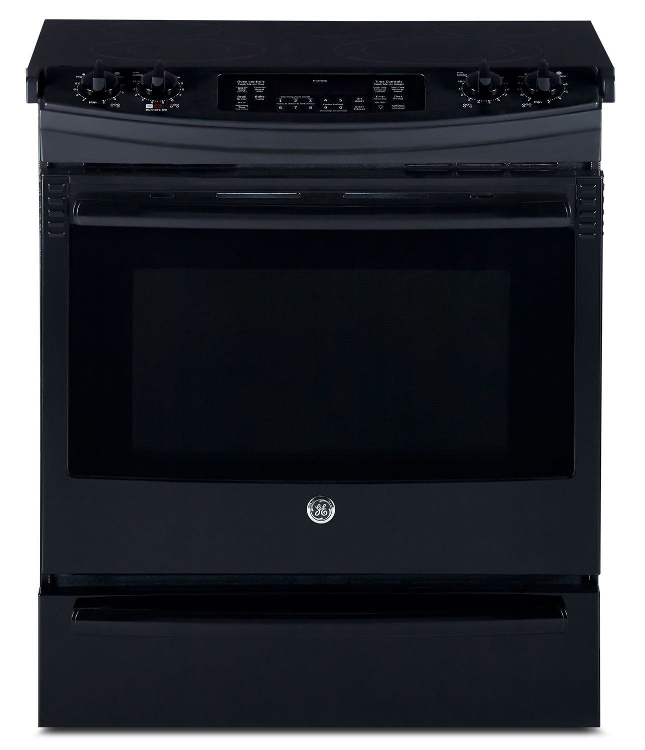 Cooking Products - GE Black Slide-In Electric Convection Range (5.2 Cu. Ft.) - JCS860DFBB