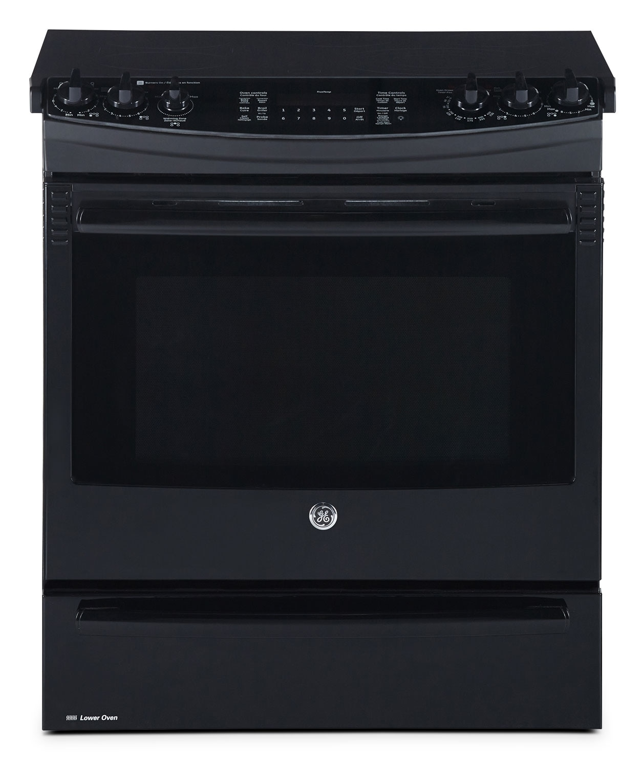 Cooking Products - GE Black Slide-In Electric Convection Range (6.6 Cu. Ft.) - PCS940DFBB