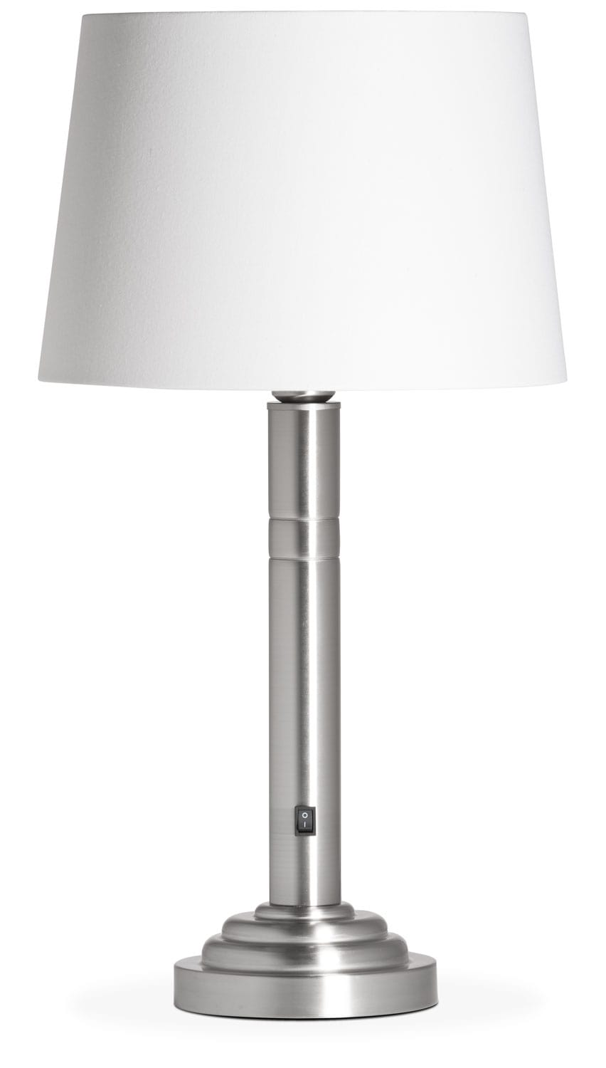 Home Accessories - Brushed Nickel Table Lamp with White Linen Shade