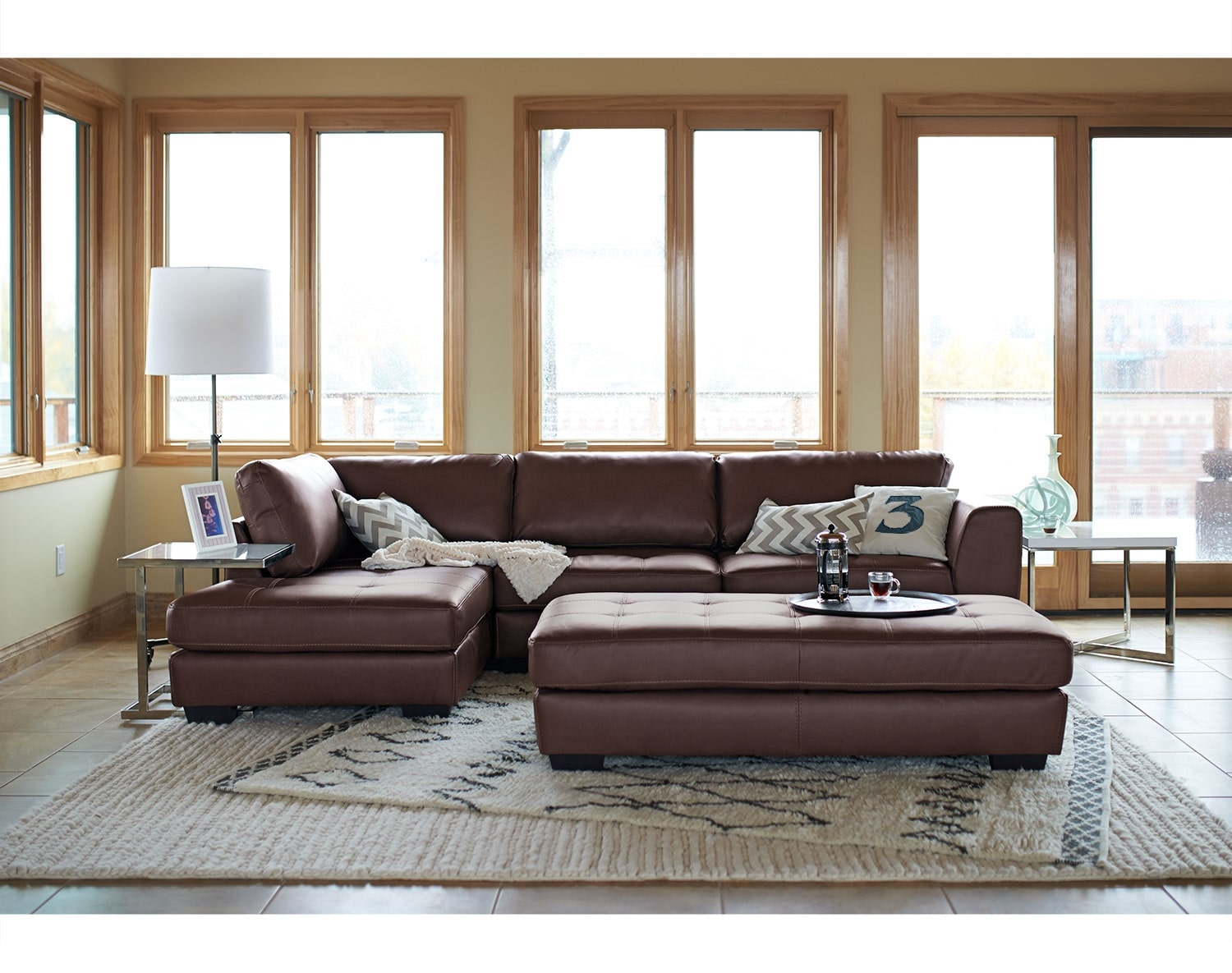 Living Room Furniture - The Lyon Brown Collection - 2 Pc. Sectional