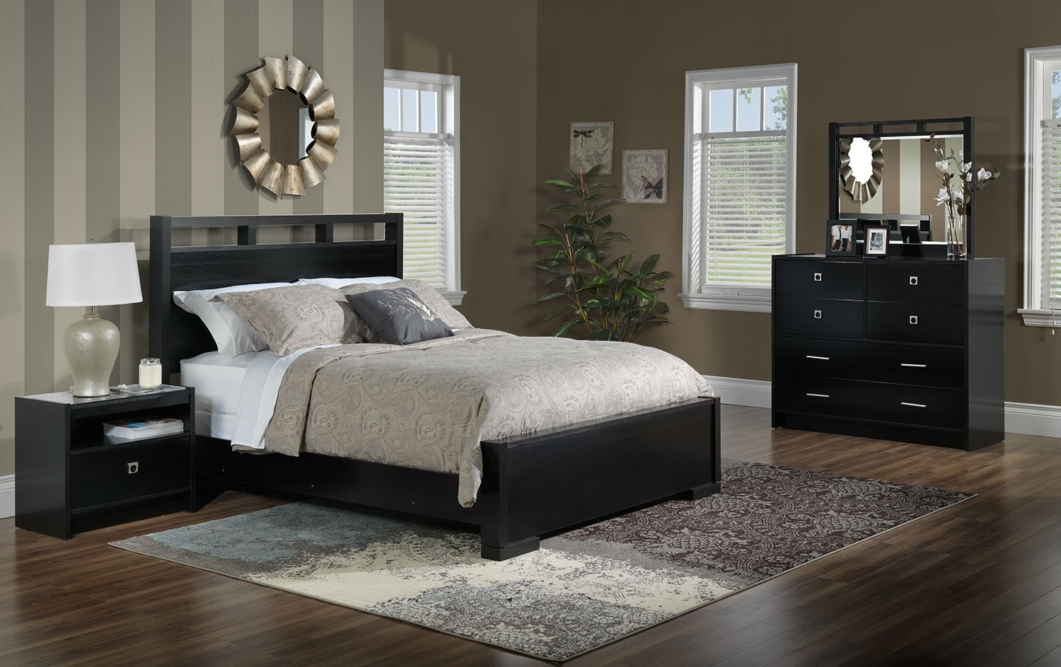 Altissa 5 piece queen bedroom set espresso leon 39 s for Queen furniture set