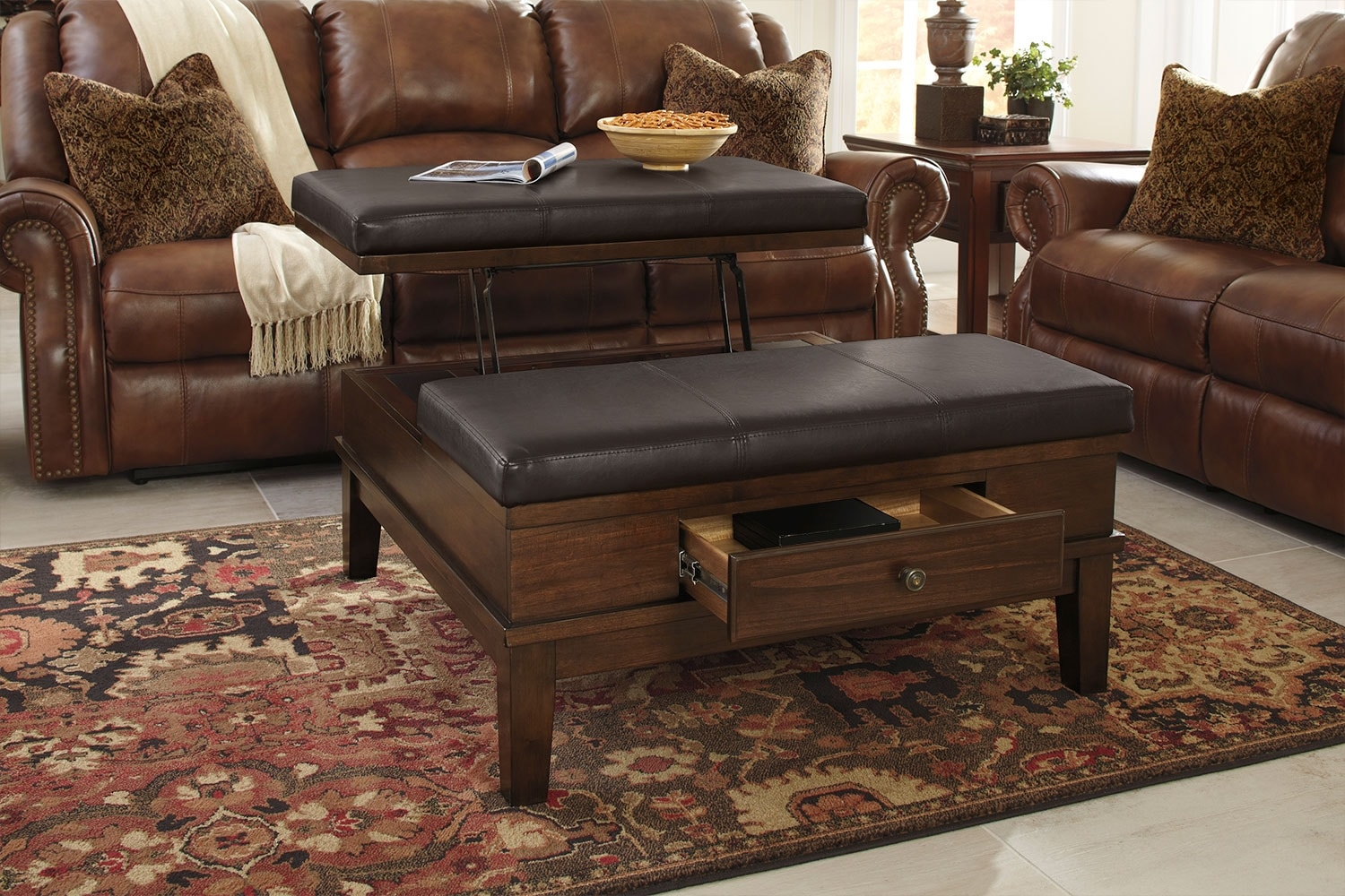 Gately ottoman coffee table with lift top the brick - Ottoman coffee tables living room ...