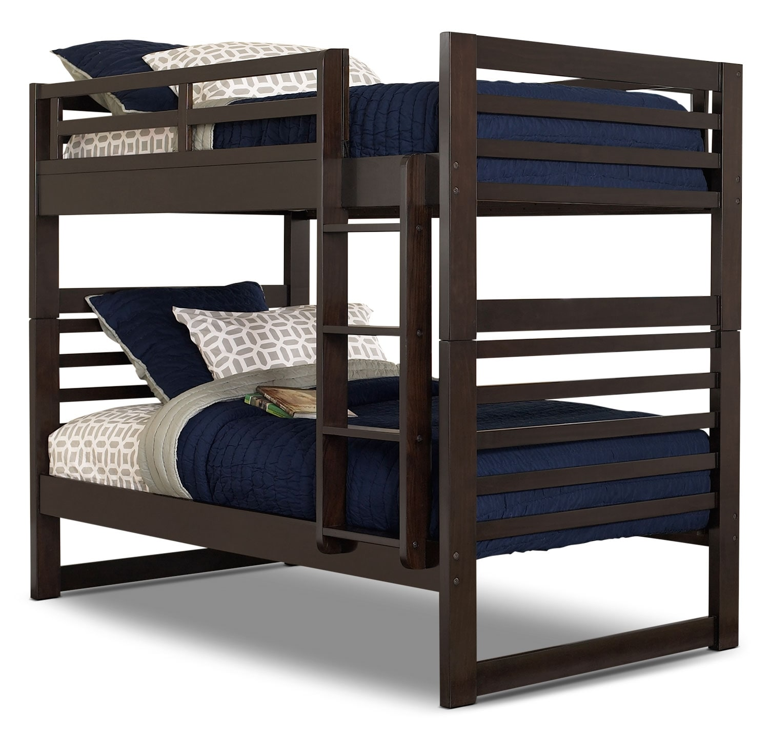 Chadwick twin twin bunk bed espresso the brick for Farnichar sale
