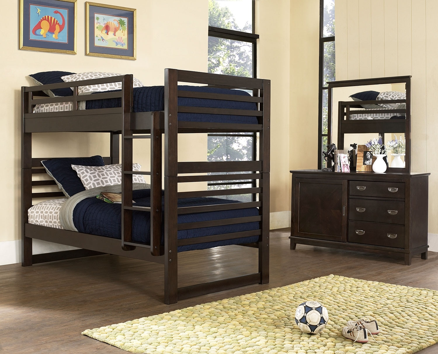 Kids Furniture - Chadwick 5-Piece Bedroom Package with Twin Bunk Bed – Espresso