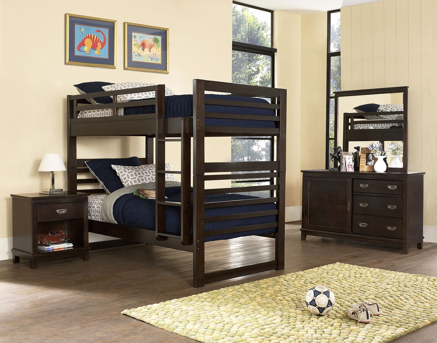 Kids Furniture - Chadwick 6-Piece Bedroom Package with Twin Bunk Bed – Espresso