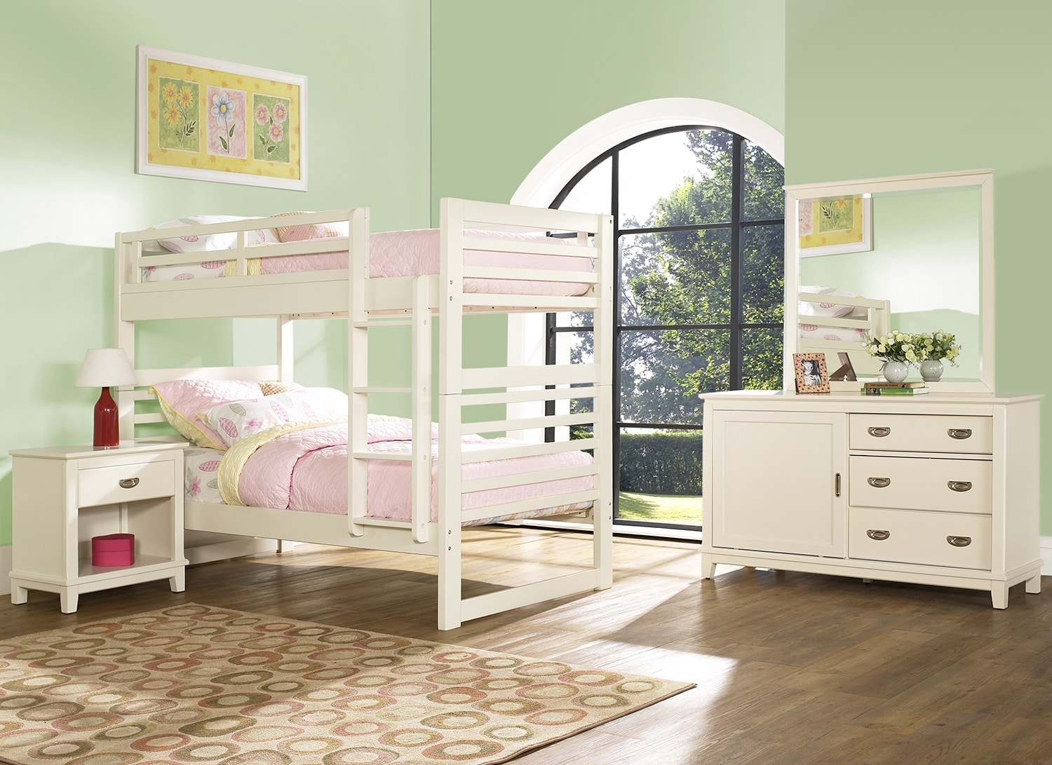 Kids Furniture - Chadwick 6-Piece Bedroom Package with Twin Bunk Bed – White