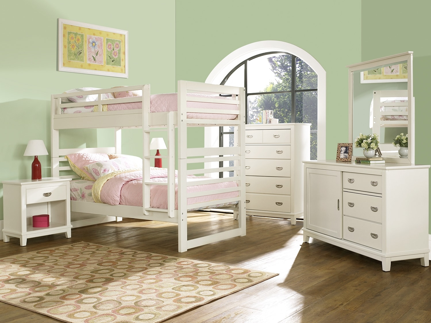 Kids Furniture - Chadwick 8-Piece Bedroom Package with Twin Bunk Bed – White