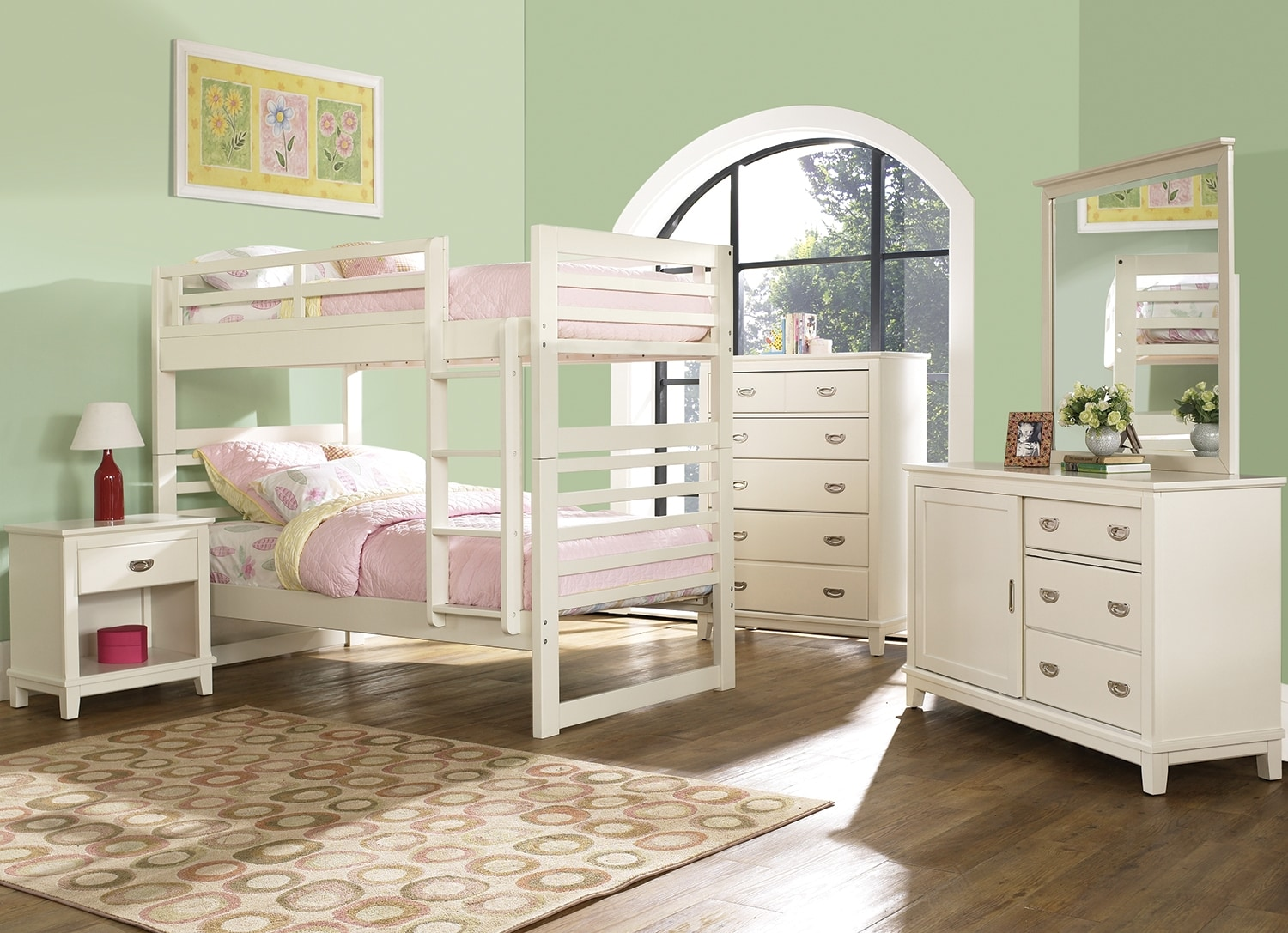 Kids Furniture - Chadwick 7-Piece Bedroom Package with Twin Bunk Bed – White
