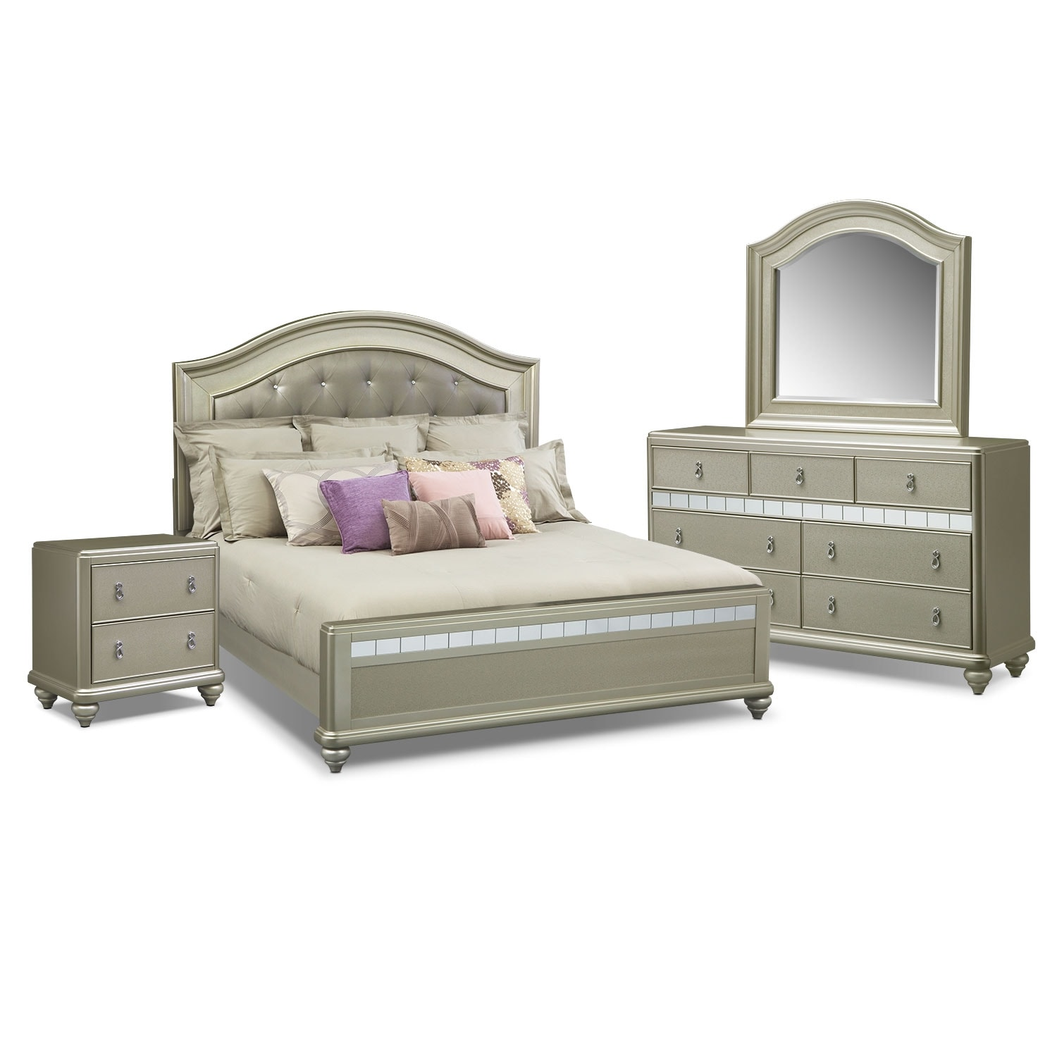 bedroom furniture serena king 6 piece bedroom set platinum