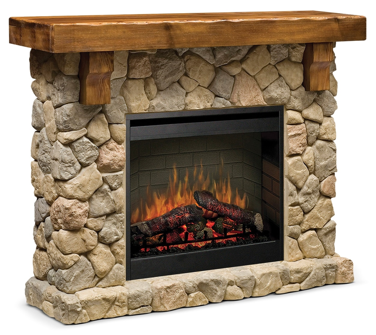 "Entertainment Furniture - Fieldstone 56"" TV Stand with Log Firebox"