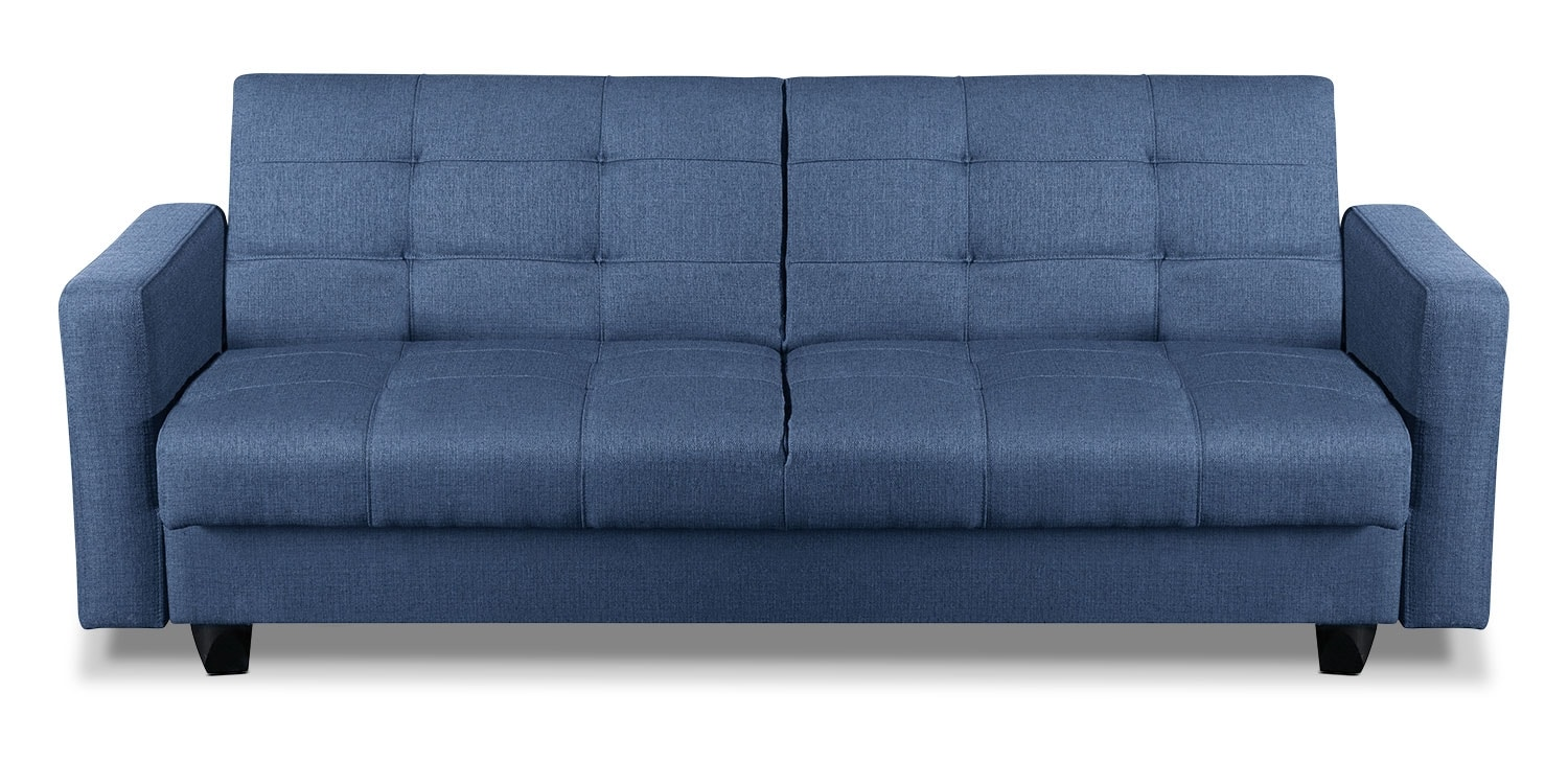 Living Room Furniture - Cali Fabric Storage Futon - Blue