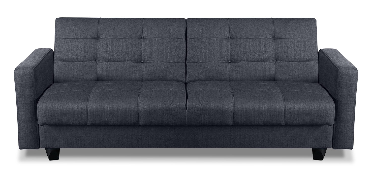 Living Room Furniture - Cali Fabric Storage Futon - Grey