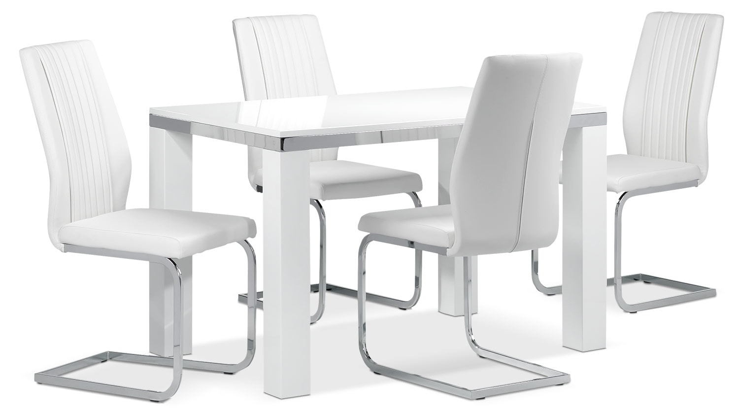 Casual Dining Room Furniture - Fresno 5-Piece Dinette Set - White