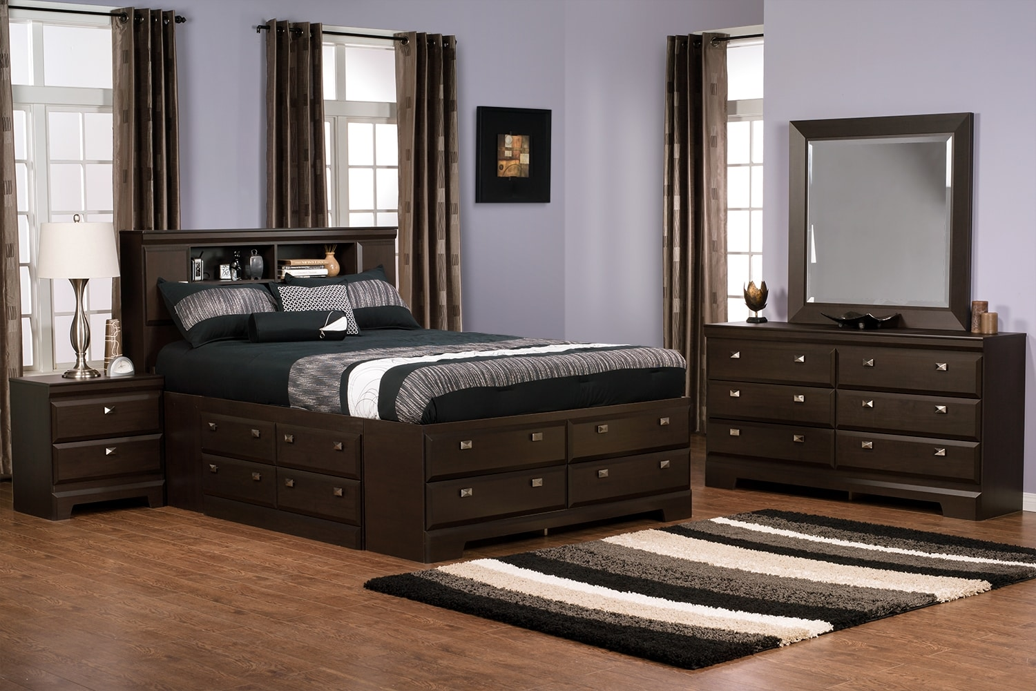 Bedroom Furniture - Yorkdale 6-Piece Full Bookcase Storage Bedroom Package
