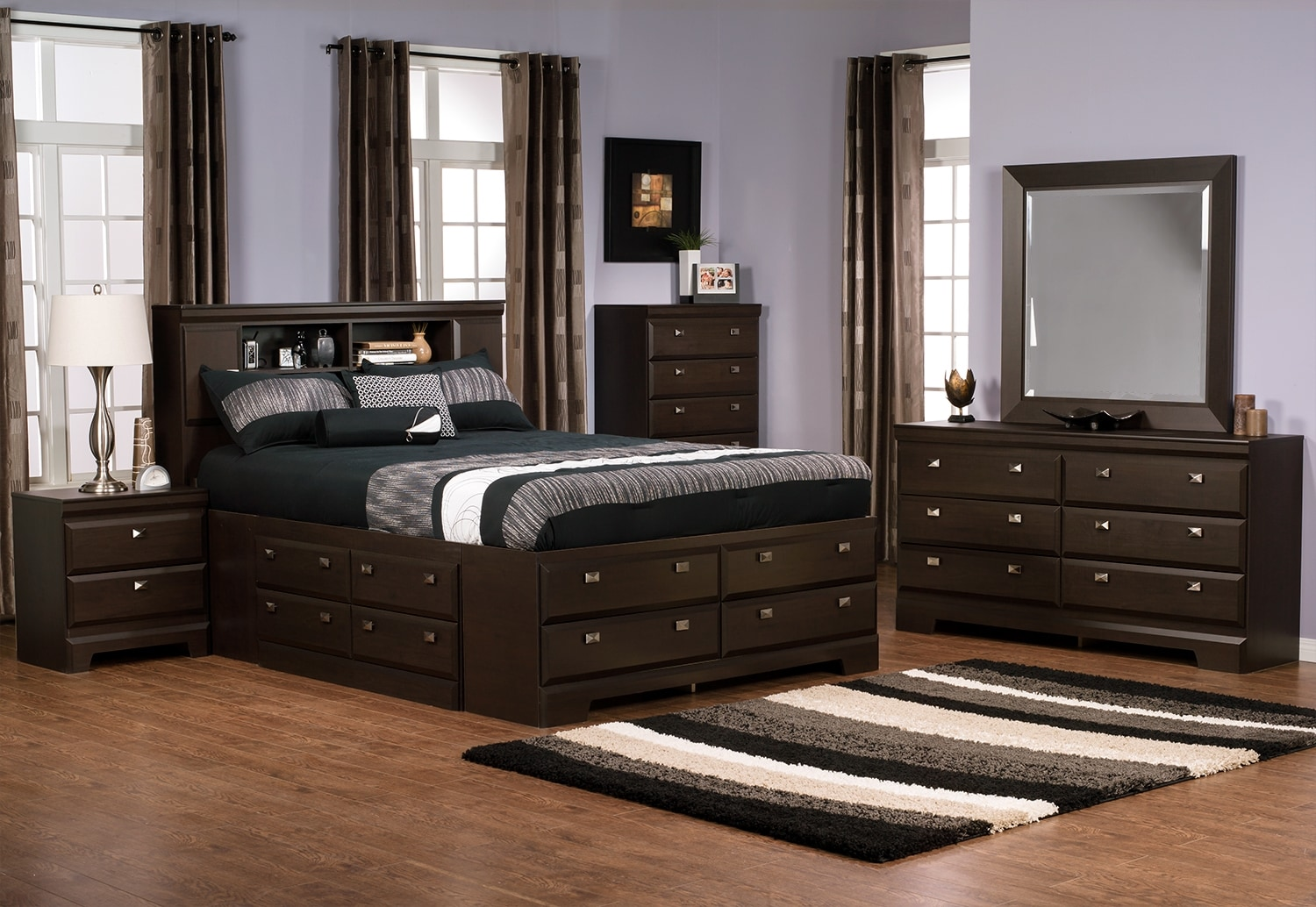 Yorkdale 8-Piece Full Bookcase Storage Bedroom Package
