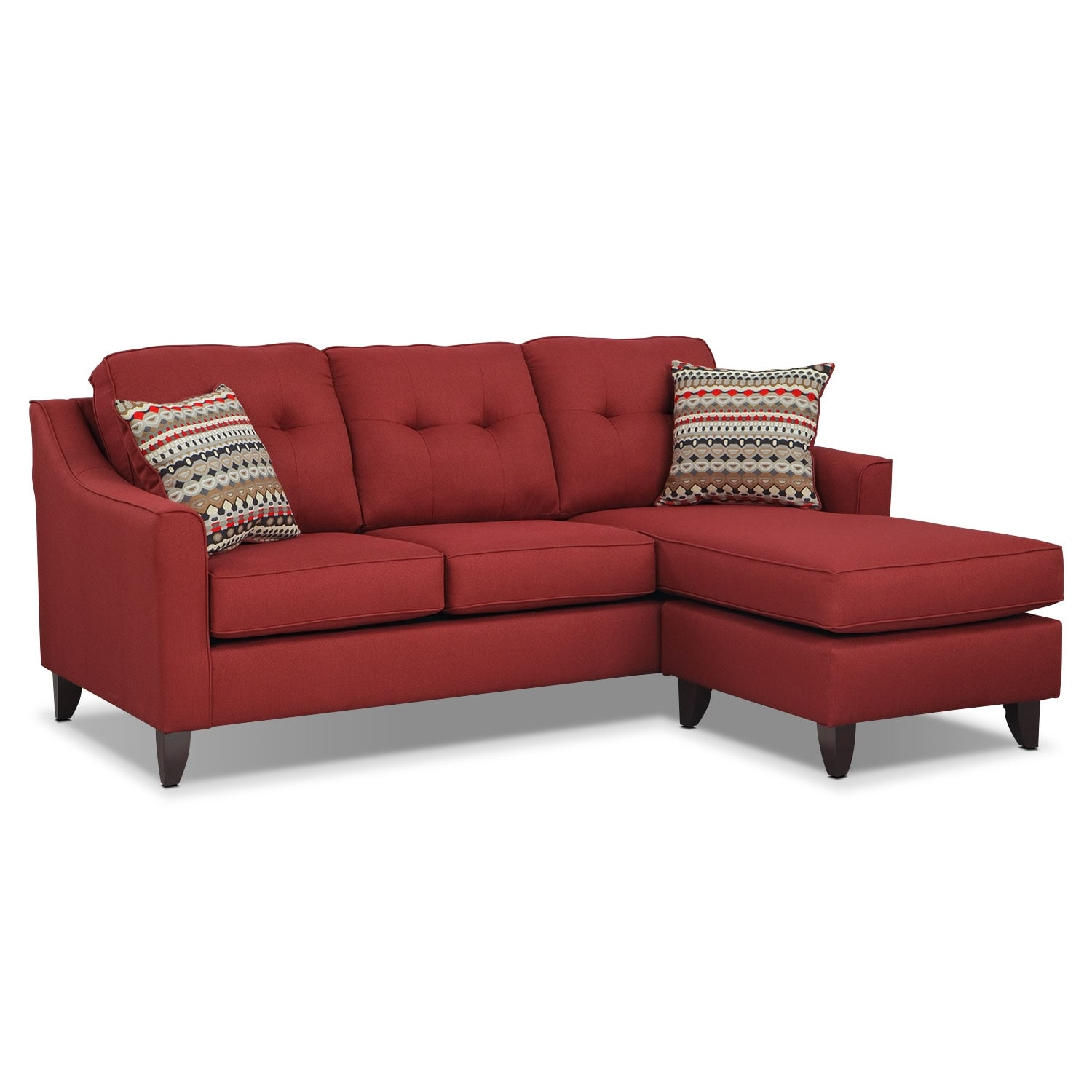 American Furniture Warehouse Sectionals Living Room Furniture - Marco Chaise Sofa - Red