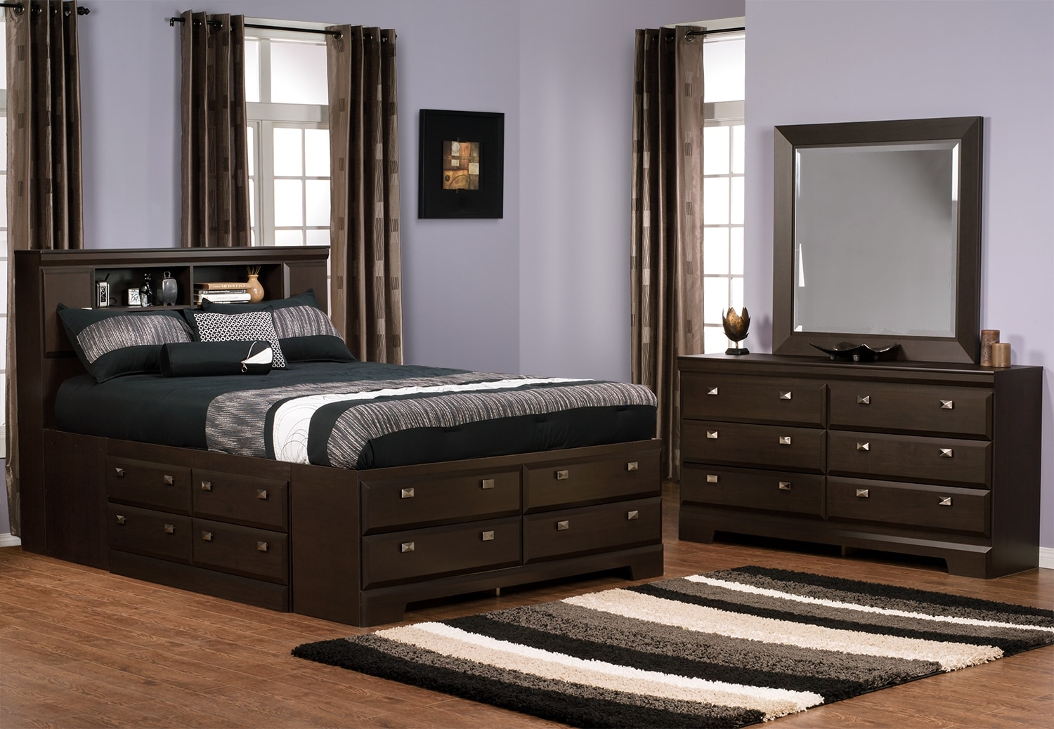 Yorkdale 5 piece full bookcase storage bedroom package for Bedroom furniture packages