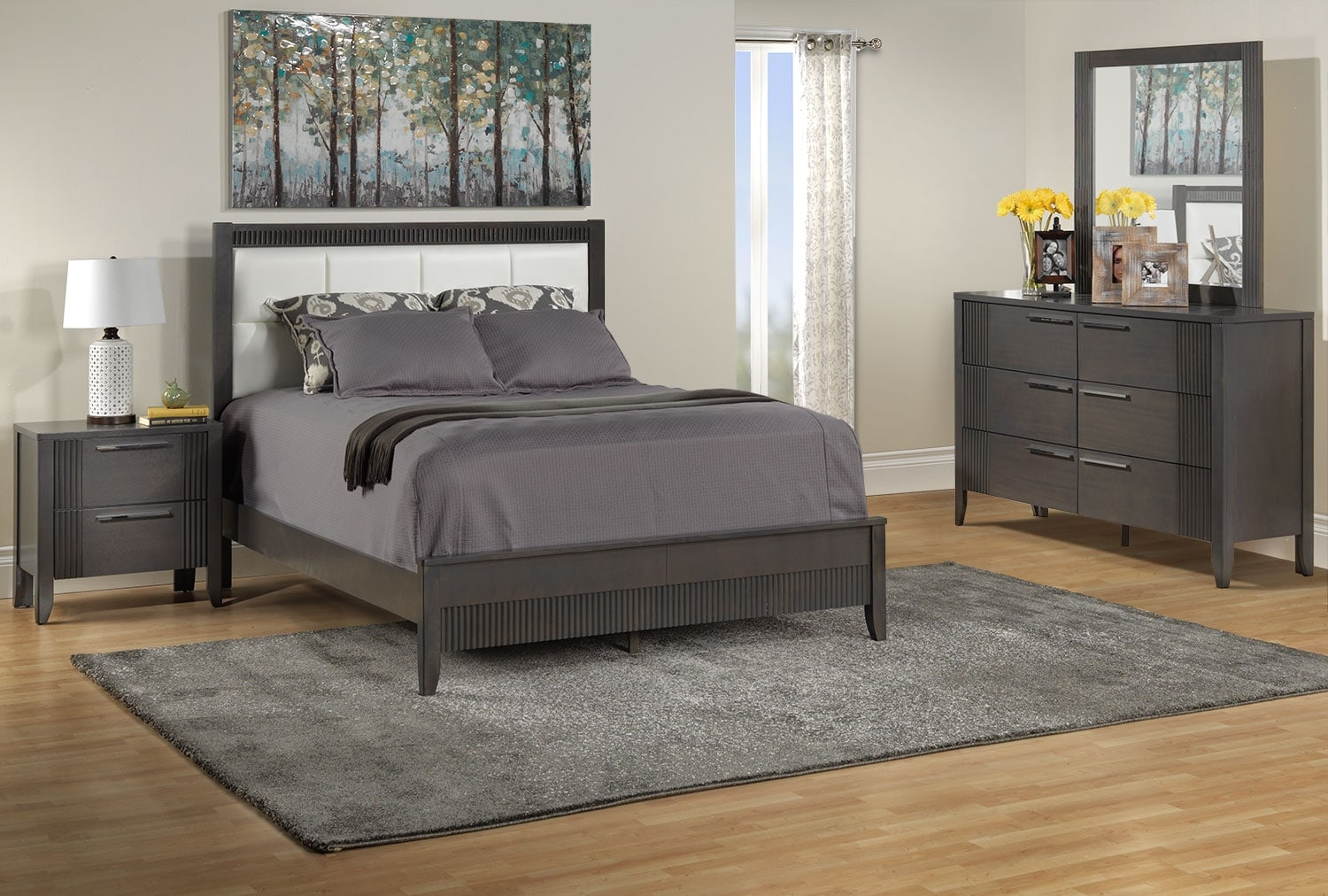Bedroom Furniture - Amy 5 Pc. Queen Bedroom Package - Grey