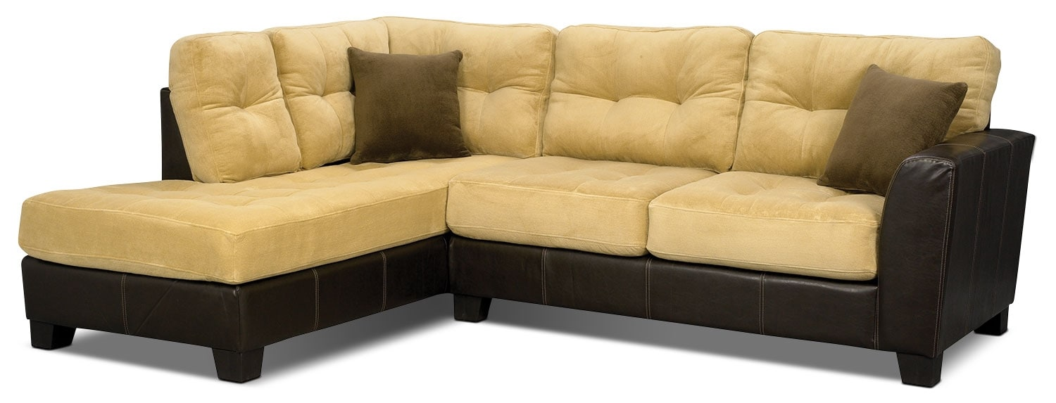 Living Room Furniture - Bella 2-Piece Left-Facing Microsuede Sectional - Two-Tone Brown