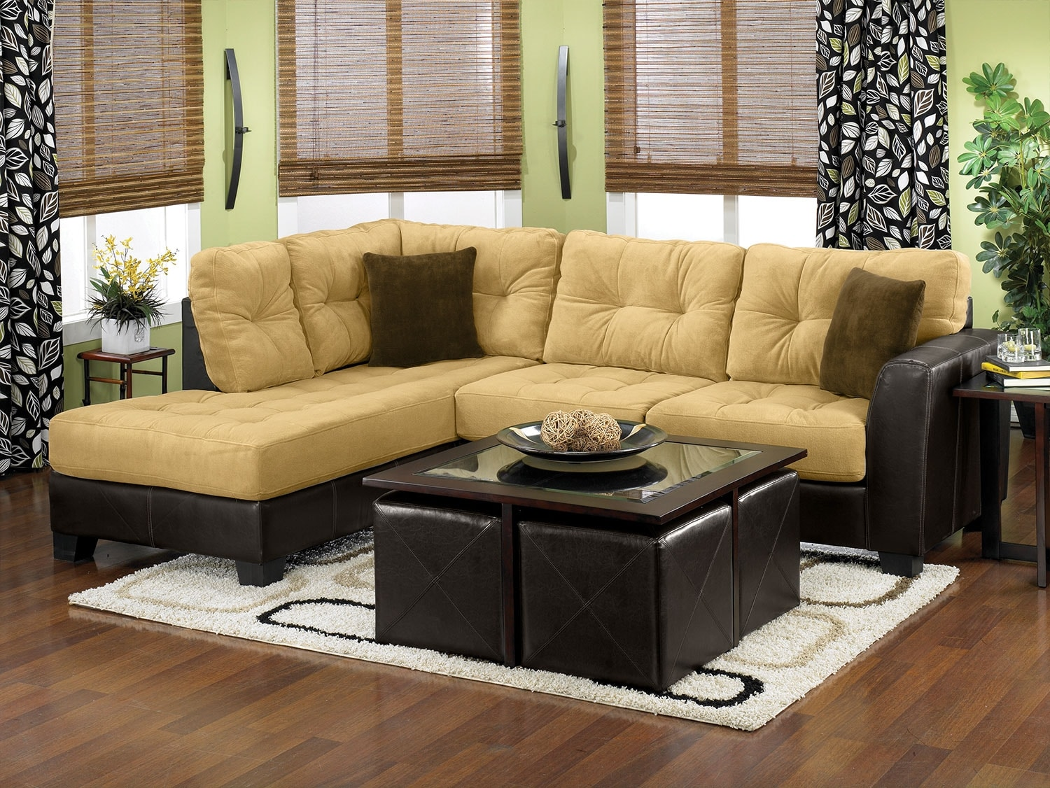 Bella 2 Piece Left Facing Microsuede Sectional Two Tone Brown The Brick
