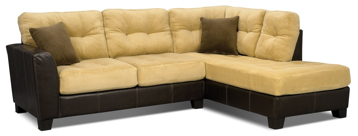 Bella 2 piece microsuede sectional two tone brown the for Sectional sofas the brick