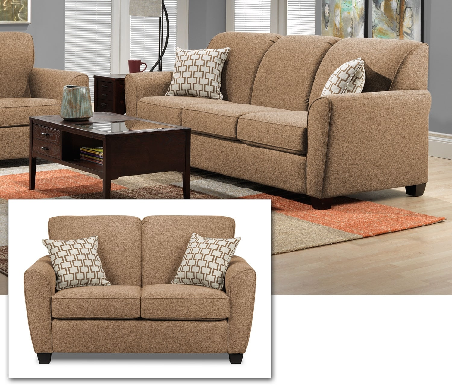 Ashby 2 Pc. Living Room Package w/ Loveseat - Sand