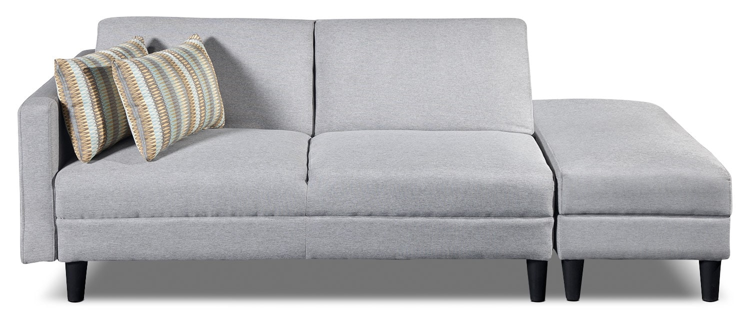 Living Room Furniture - Luck Fabric Futon with Storage Ottoman - Silver