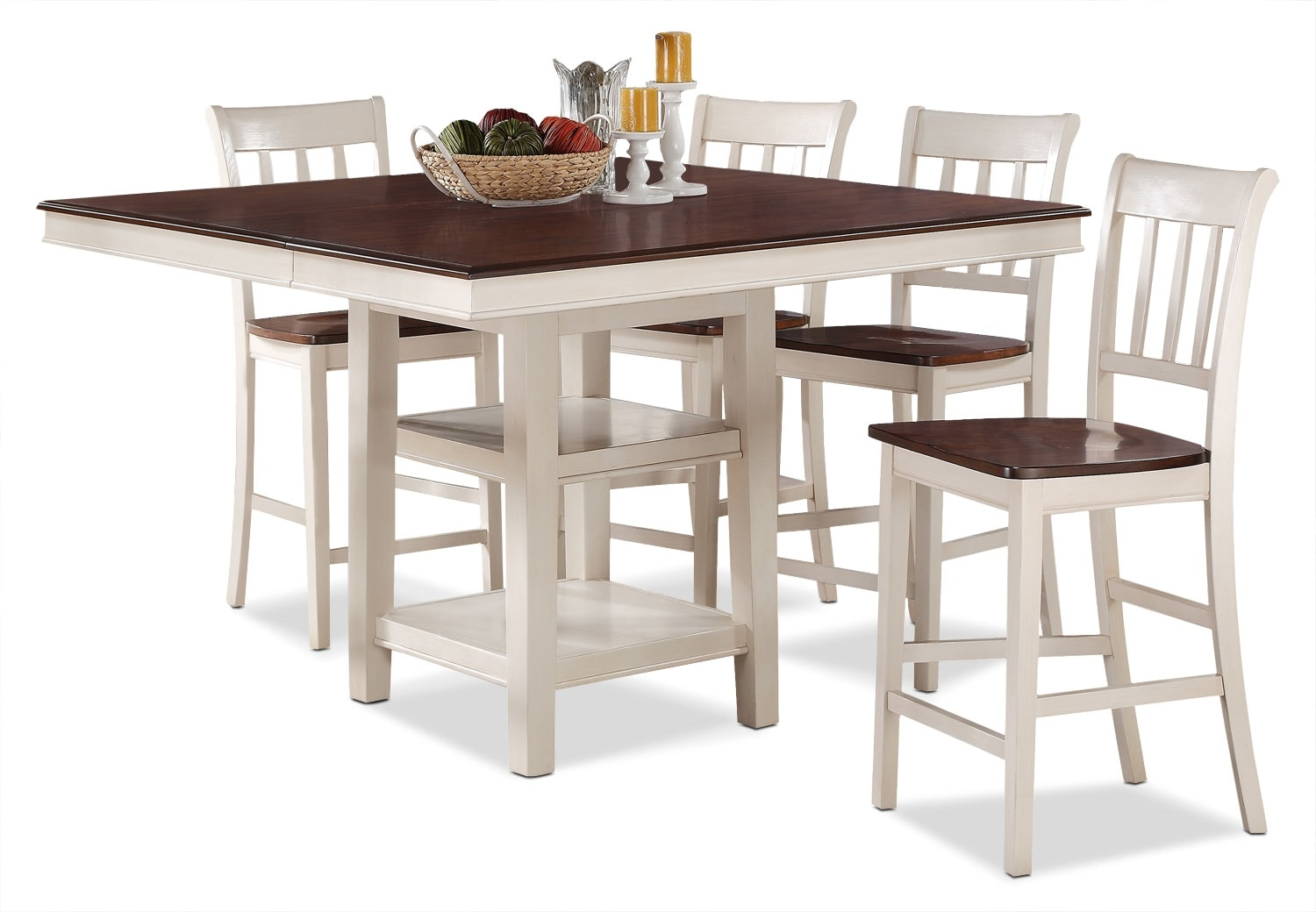 Dining Room Furniture - Nyla 5-Piece Counter-Height Dining Package – Antique White and Cherry