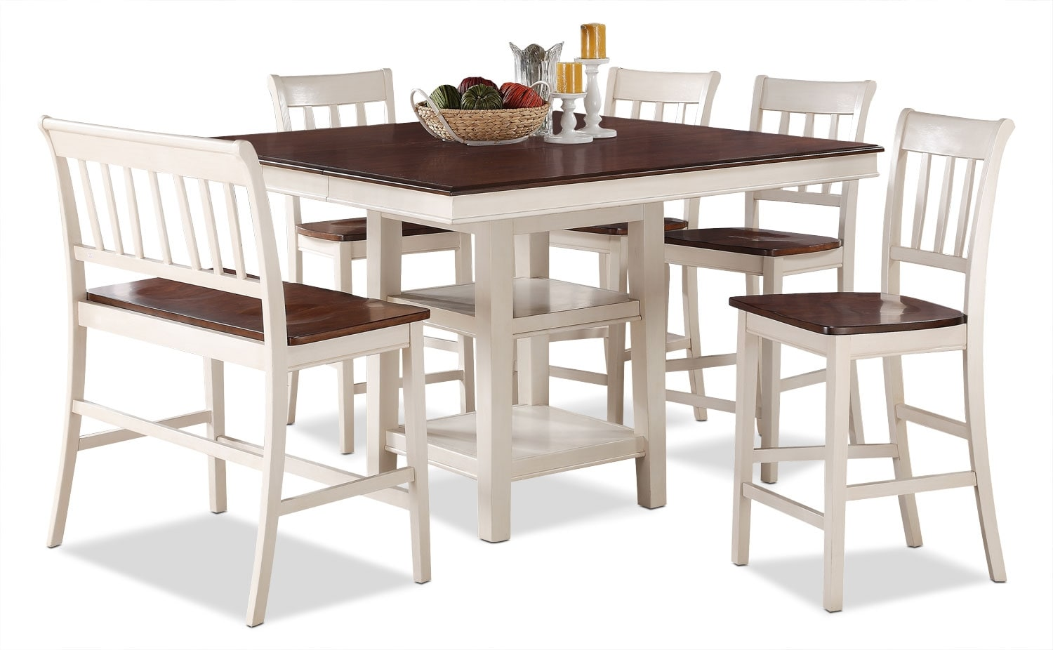 Dining Room Furniture - Nyla 6-Piece Counter-Height Dining Package – Antique White and Cherry