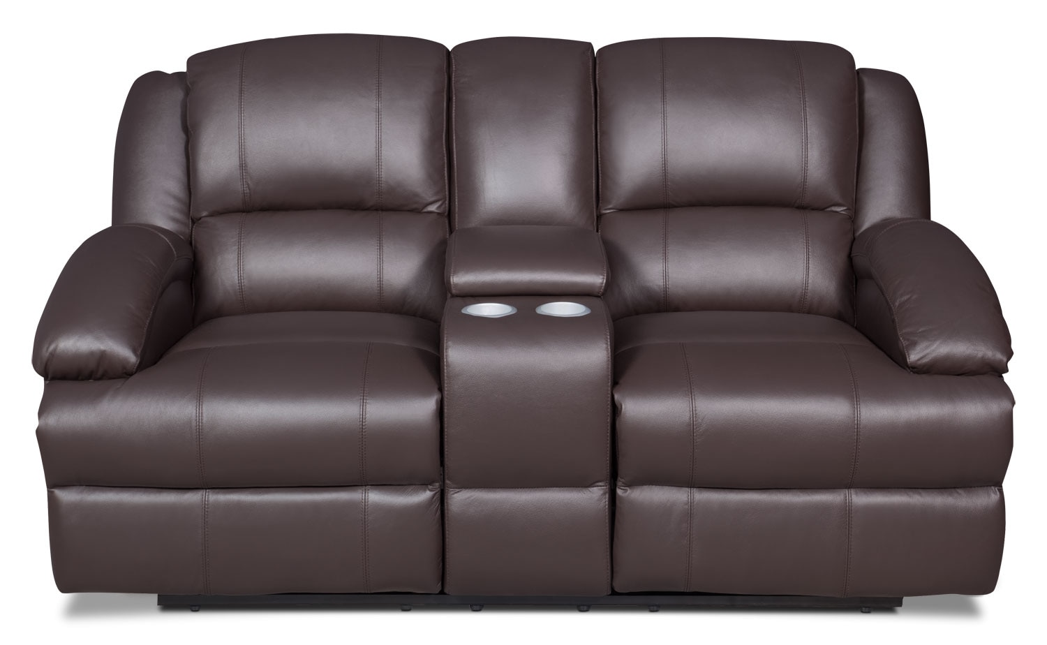 Living Room Furniture - Luka Genuine Leather Reclining Loveseat with Console - Brown