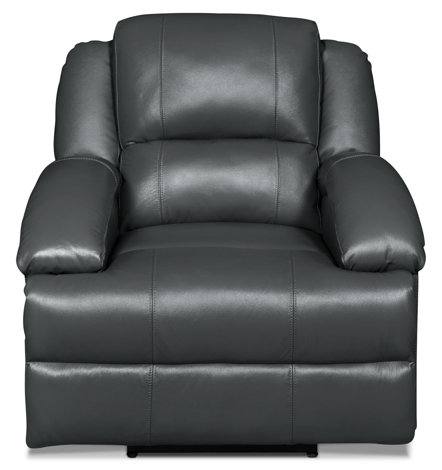 Living Room Furniture - Luka Genuine Leather Power Reclining Chair - Grey