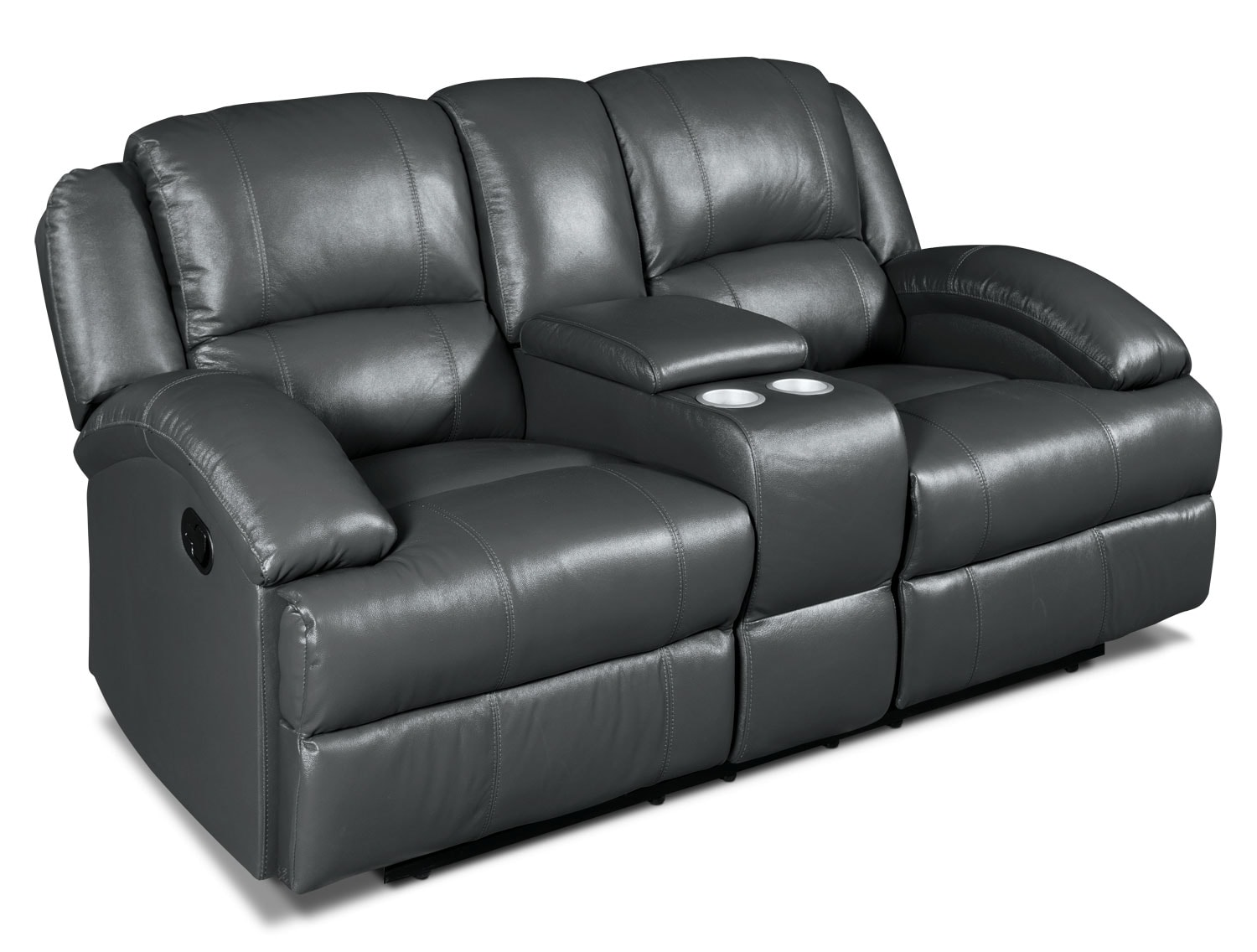 Luka Genuine Leather Power Reclining Loveseat With Console