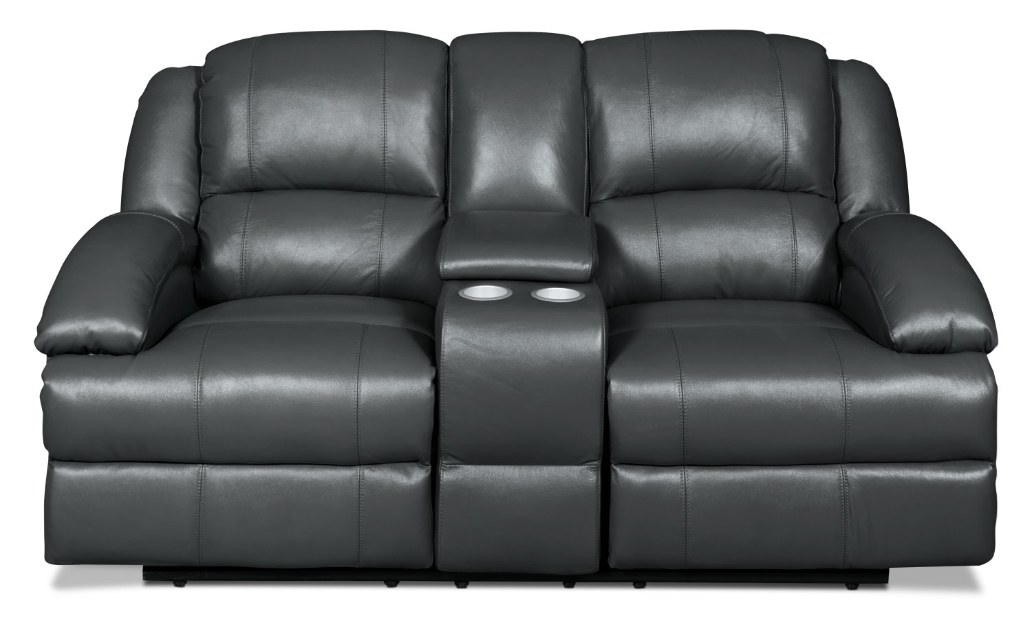Living Room Furniture - Luka Genuine Leather Reclining Loveseat with Console - Grey