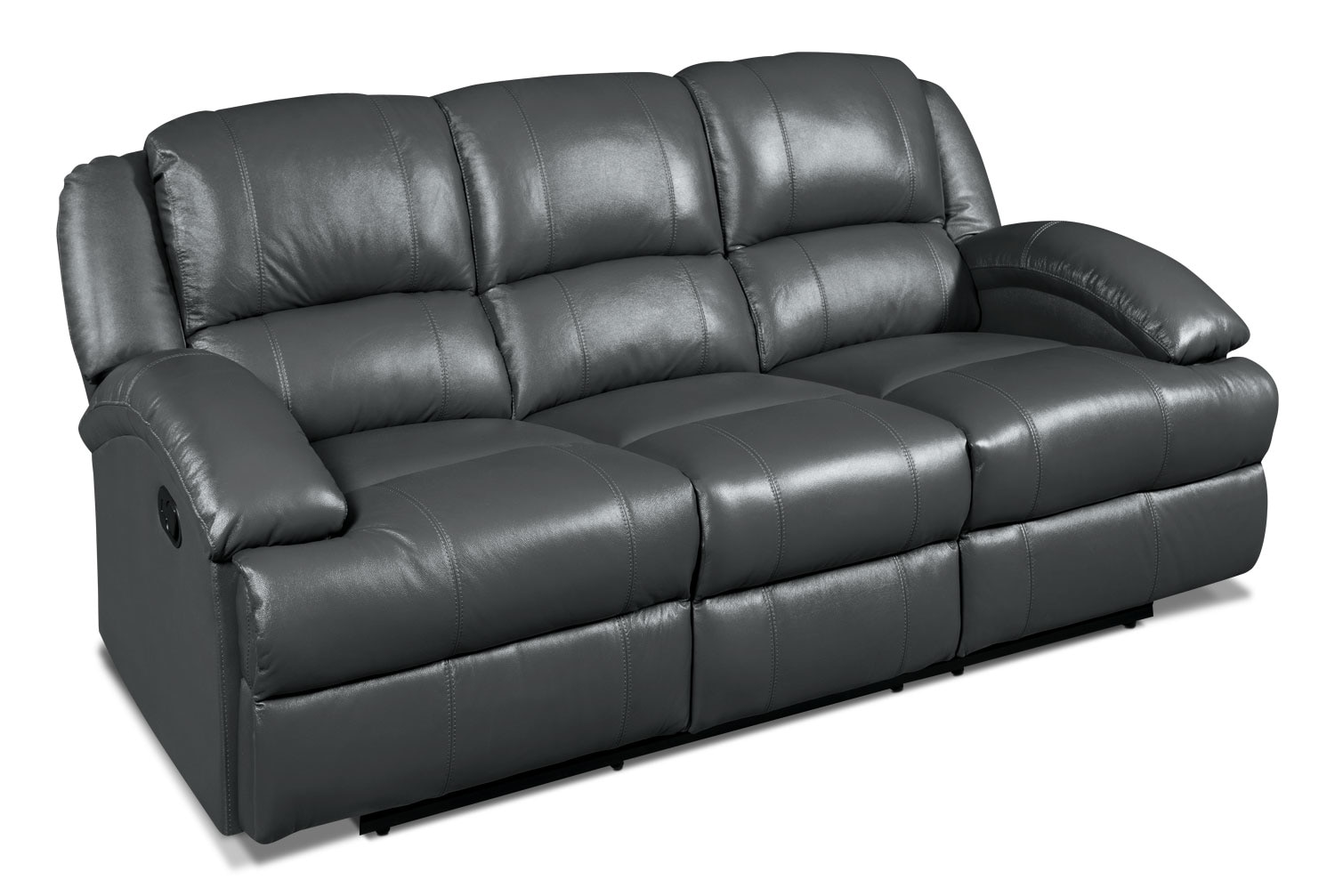 Luka genuine leather power reclining sofa grey united for Real leather sofas