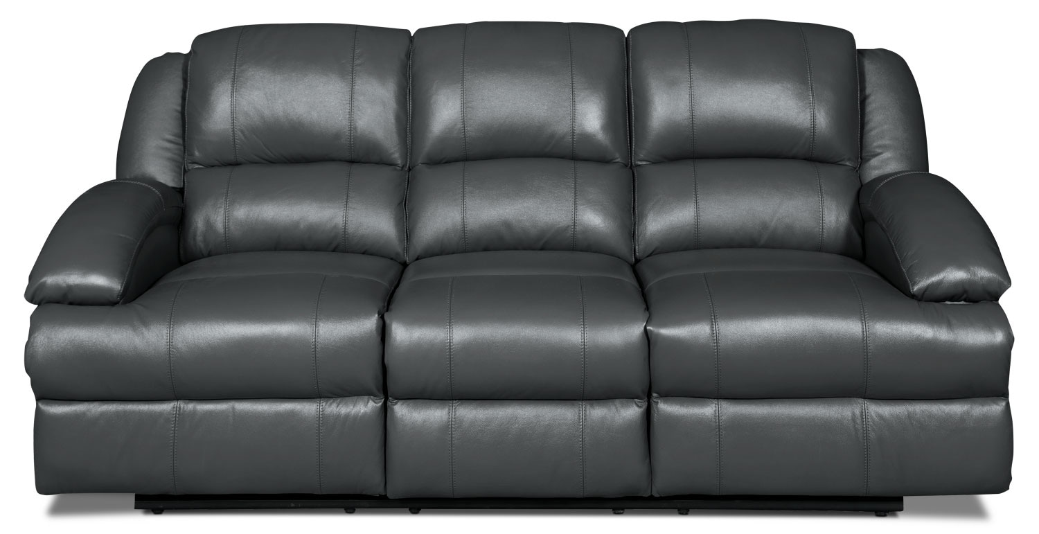 Living Room Furniture - Luka Genuine Leather Reclining Sofa - Grey
